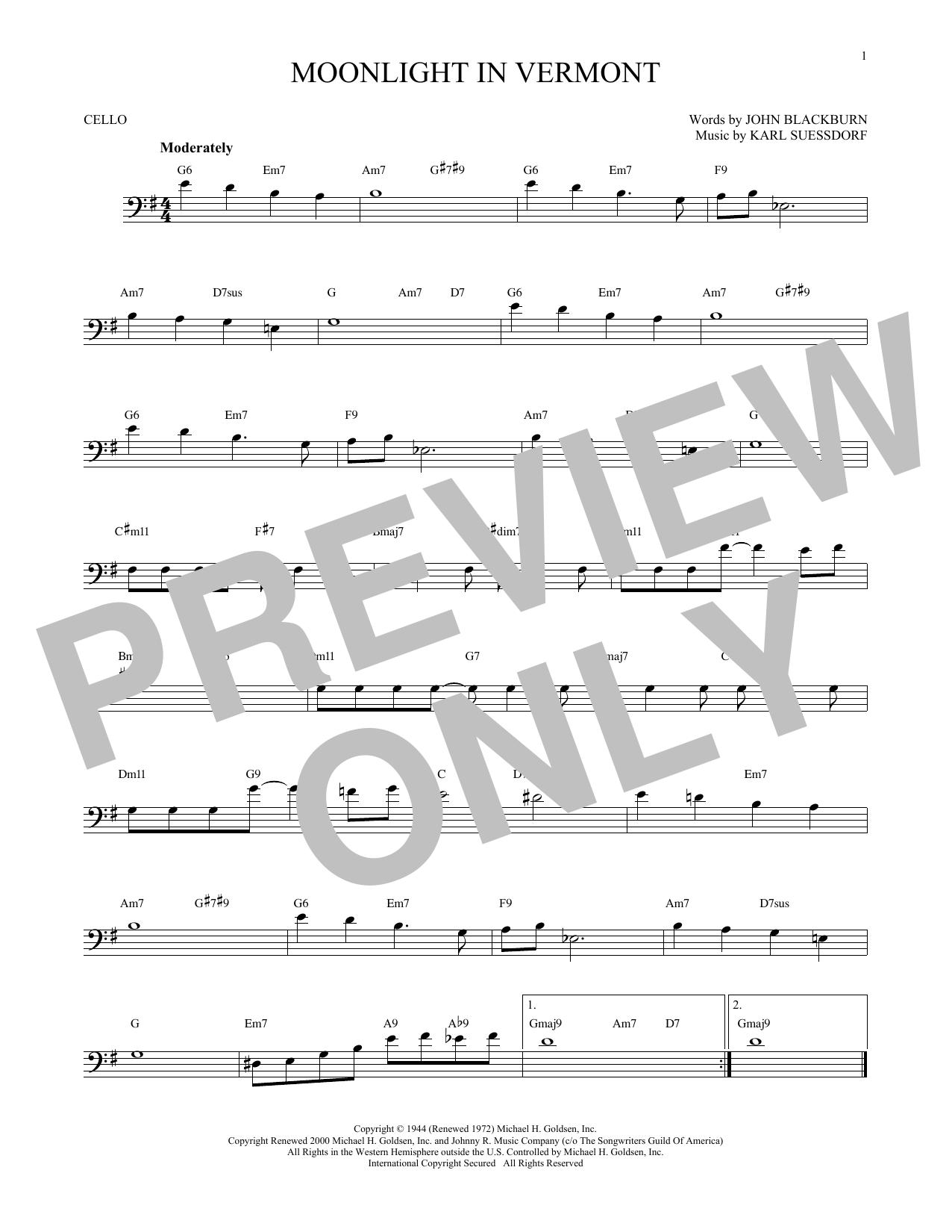 Partition autre Moonlight In Vermont de Karl Suessdorf - Violoncelle