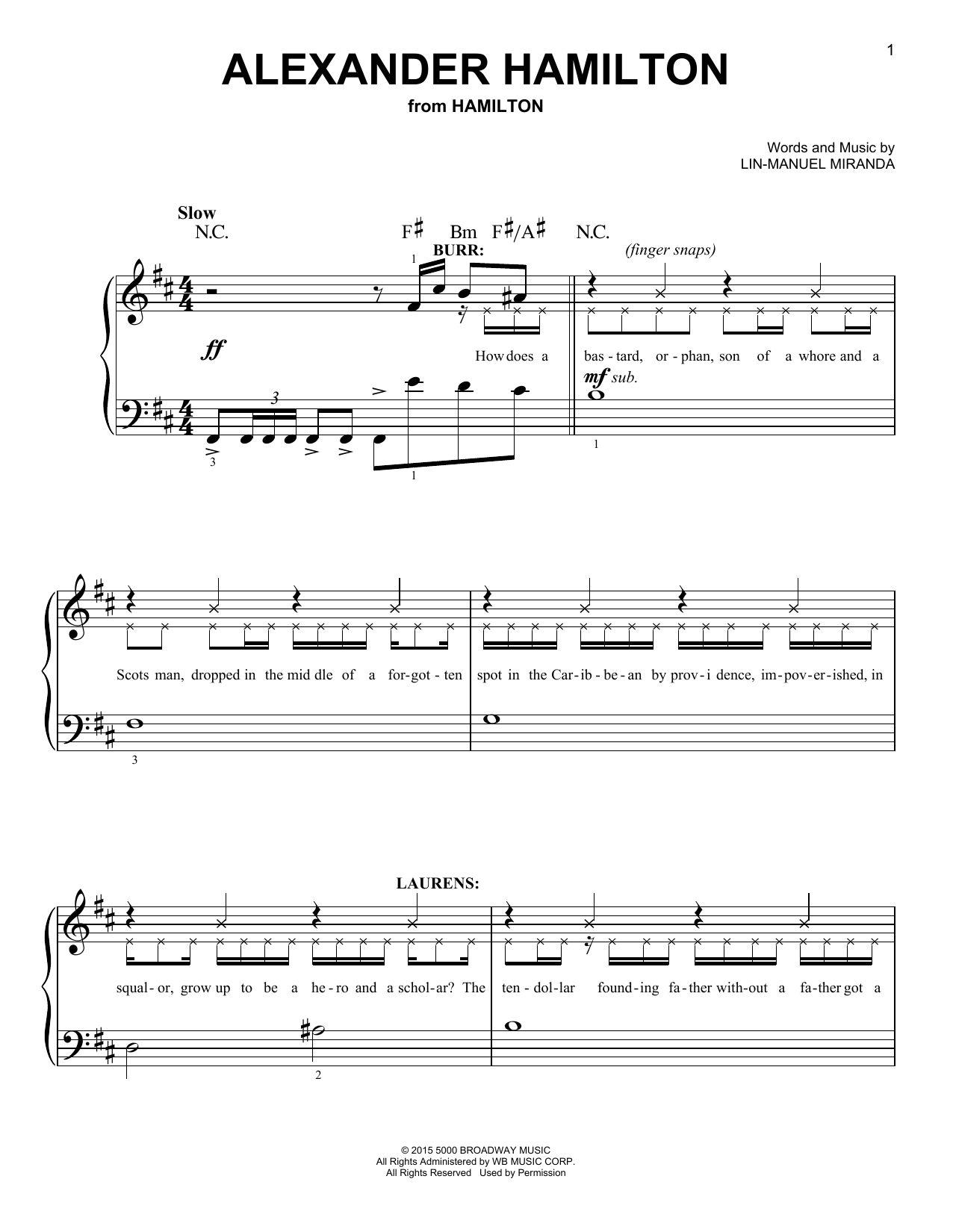 Alexander Hamilton (from 'Hamilton') Sheet Music