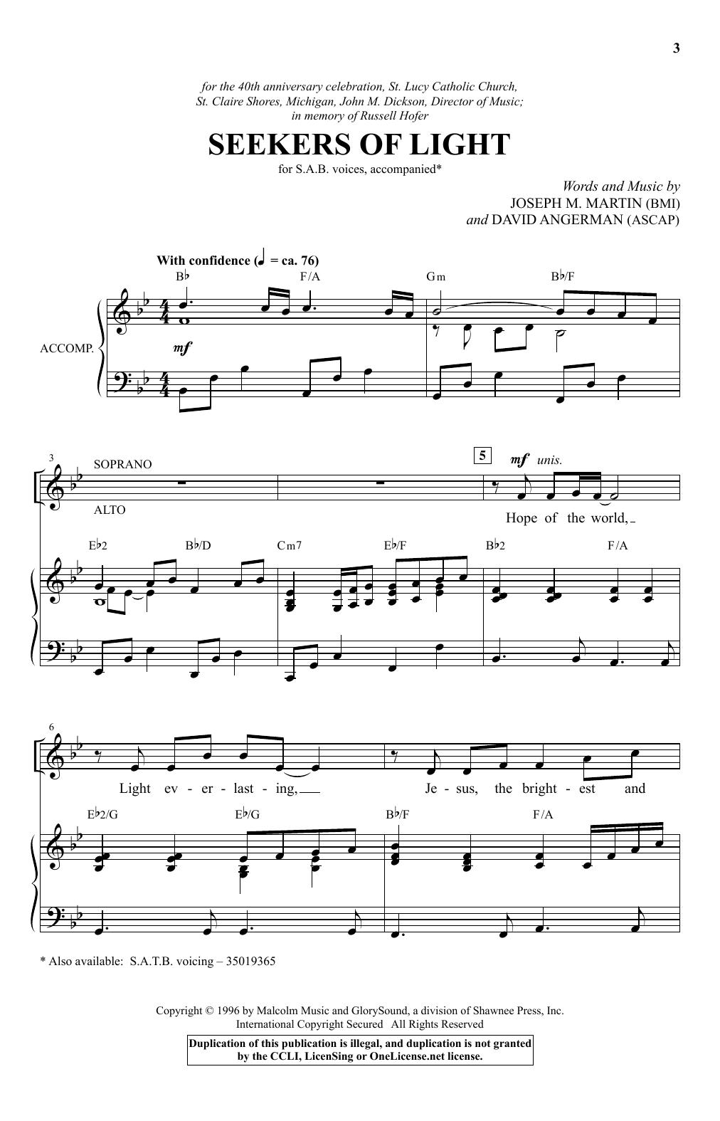 Seekers Of Light (SAB Choir)