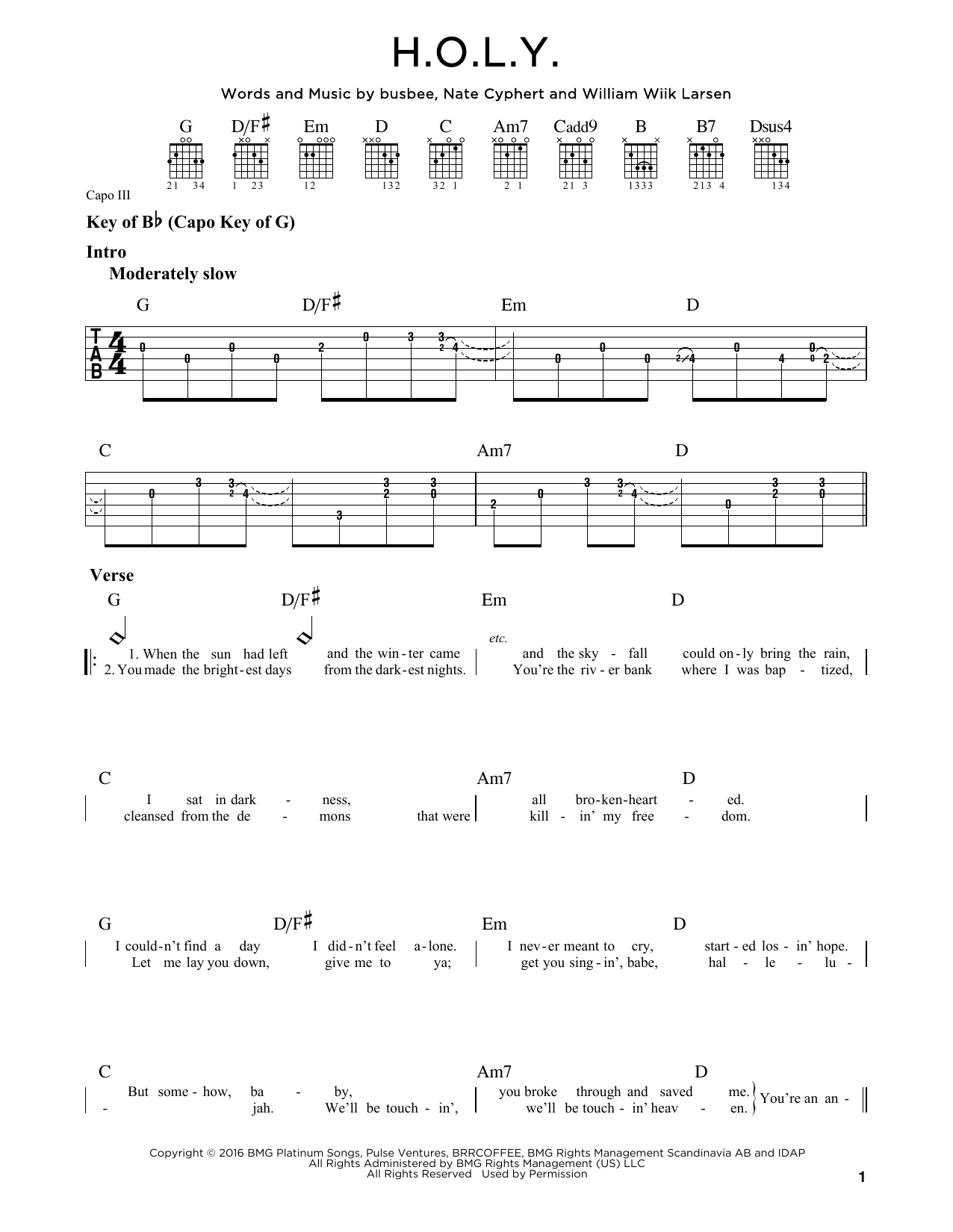Partition autre H.O.L.Y. de Florida Georgia Line - Tablature Guitare Lead