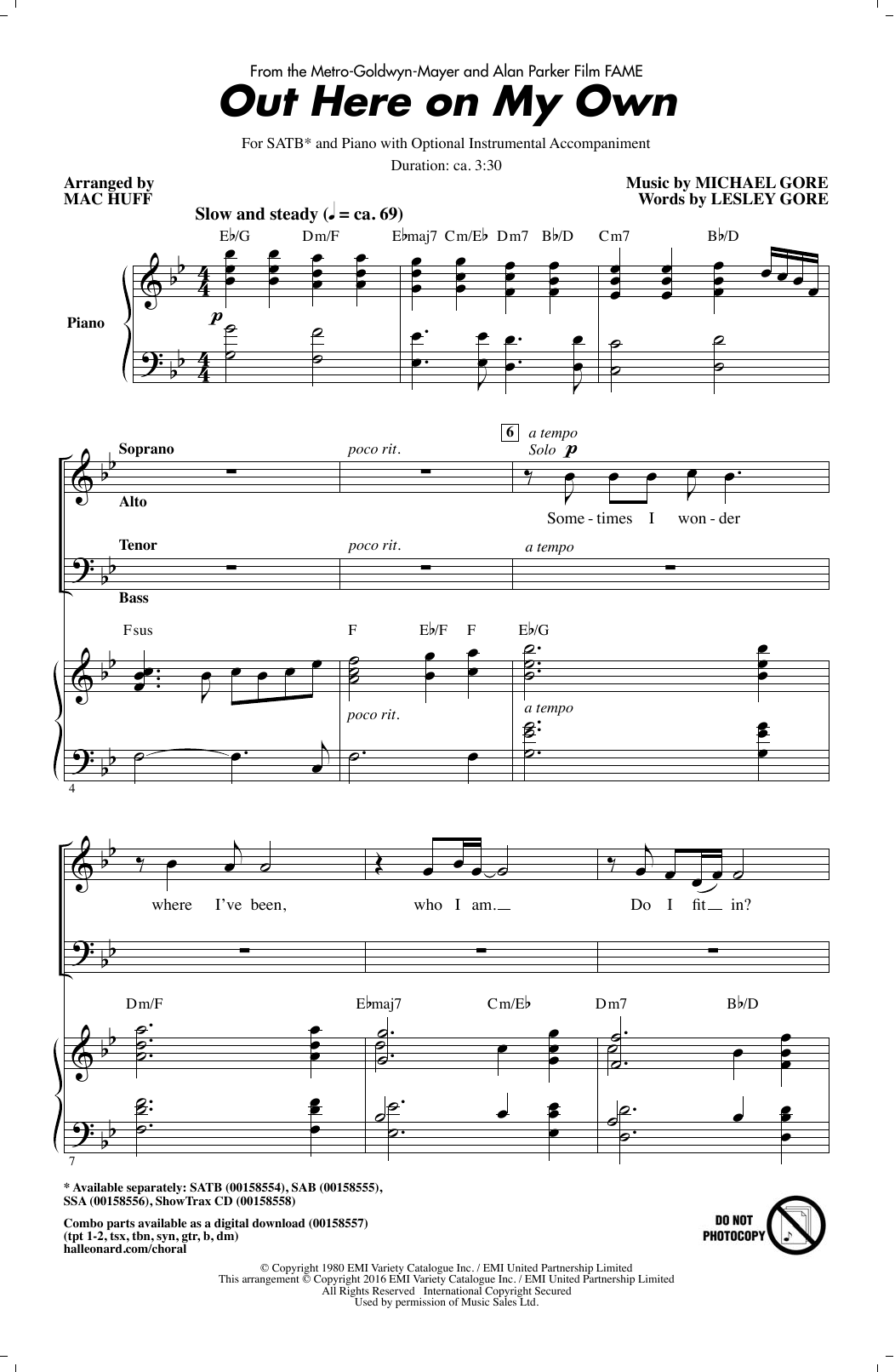 Out Here On My Own (from Fame) (arr. Mac Huff) (SATB Choir)