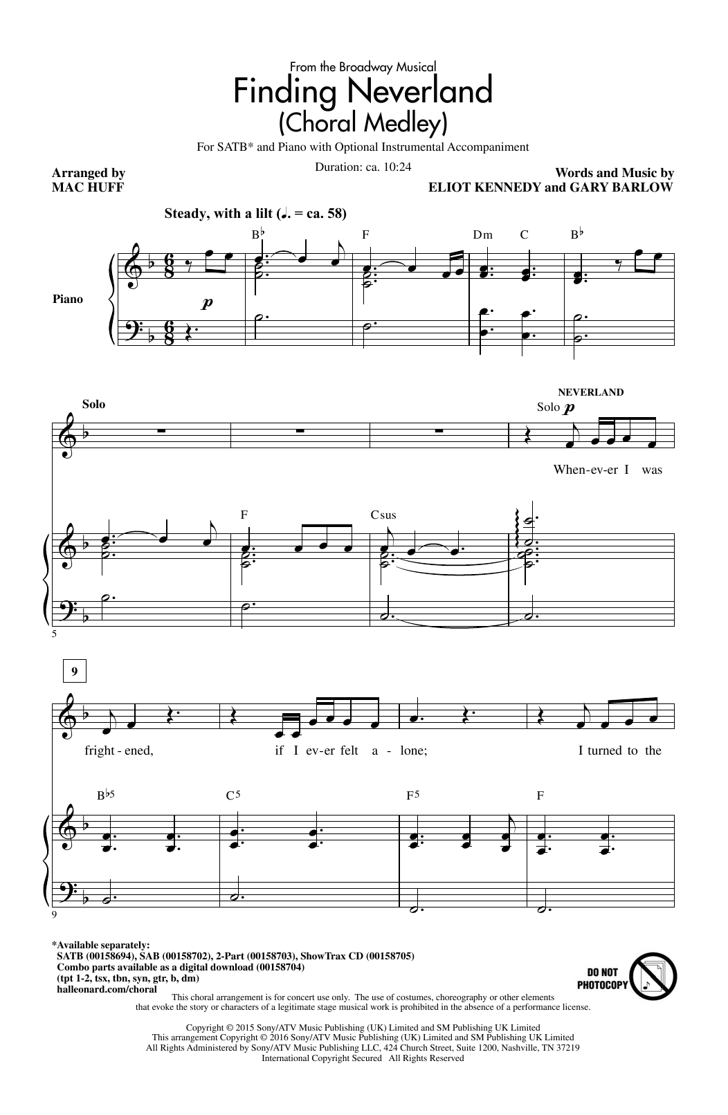 Partition chorale Finding Neverland (Choral Medley) de Mac Huff - SATB
