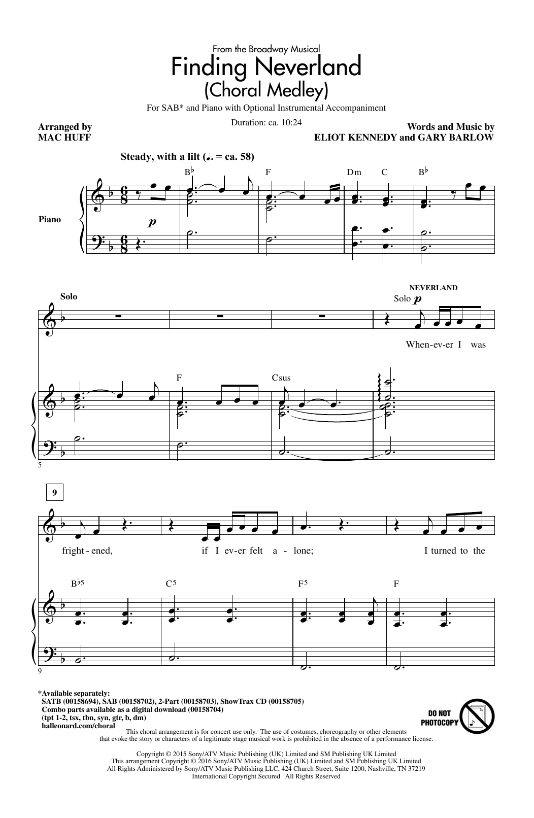 Finding Neverland (Choral Medley) (arr. Mac Huff) Sheet Music