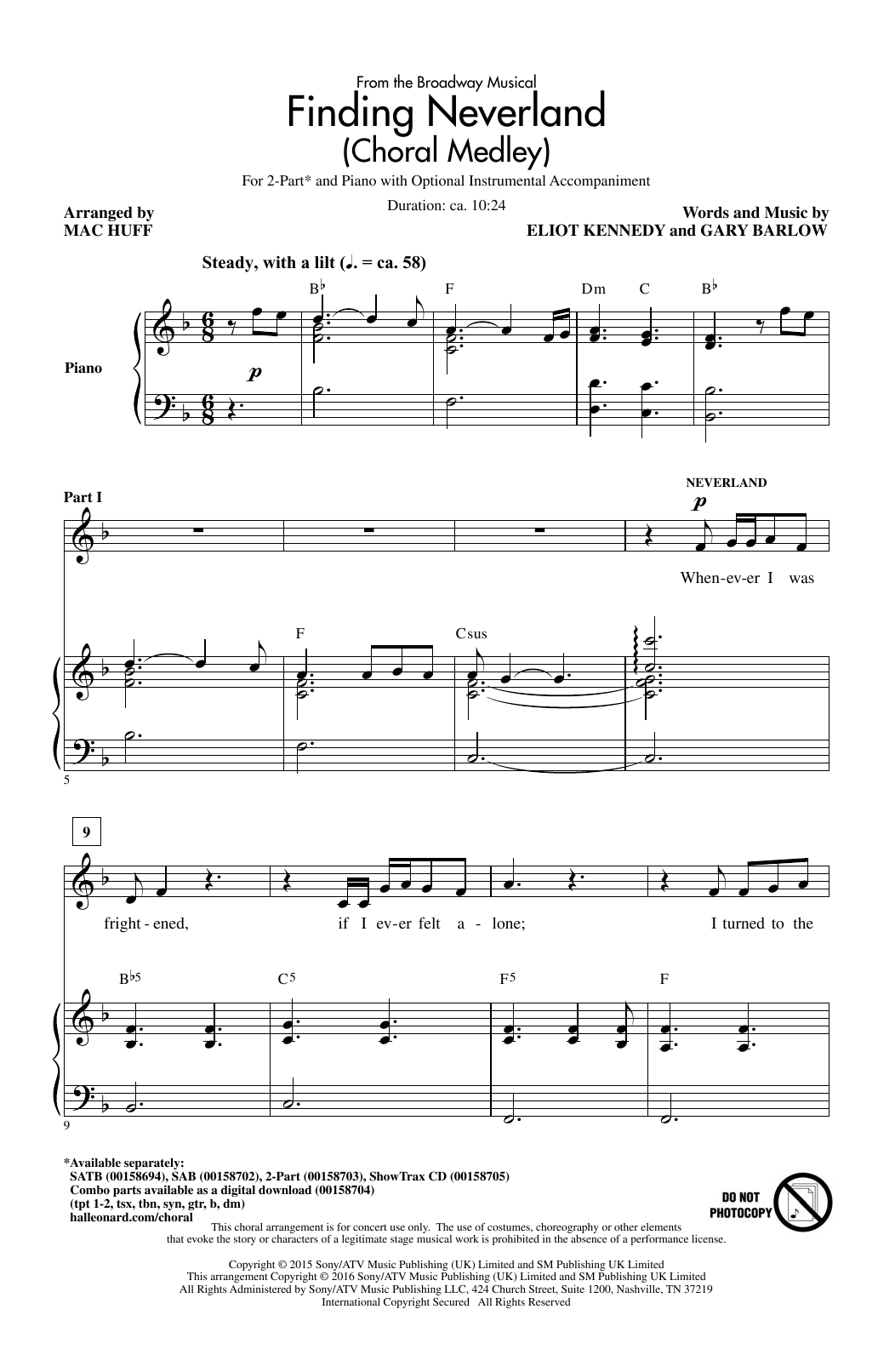 Finding Neverland (Choral Medley) Sheet Music