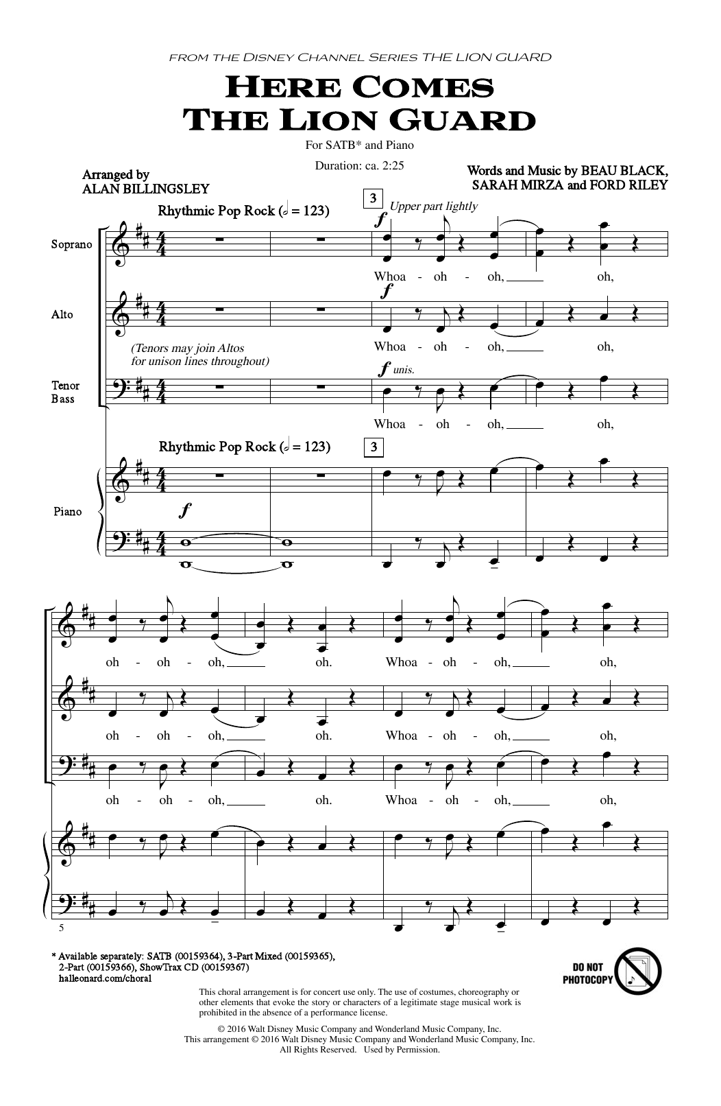 Partition chorale Here Comes The Lion Guard de Alan Billingsley - SATB