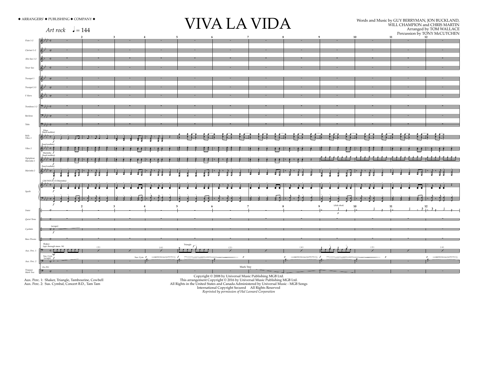 Viva La Vida (COMPLETE) sheet music for marching band by Will Champion, Chris Martin, Coldplay, Guy Berryman, Jon Buckland and Tom Wallace. Score Image Preview.