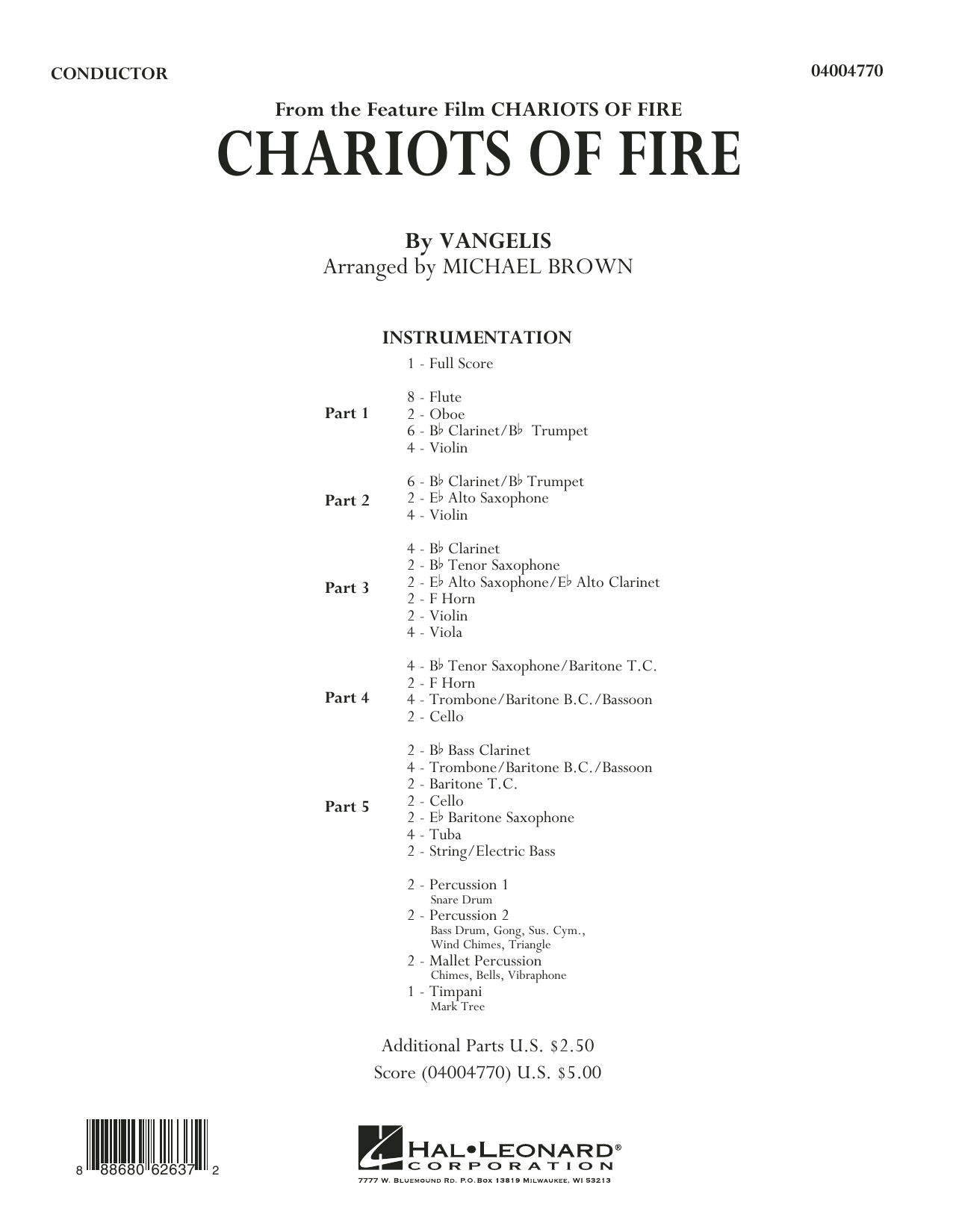 Chariots of Fire (COMPLETE) sheet music for concert band by Vangelis and Michael Brown. Score Image Preview.