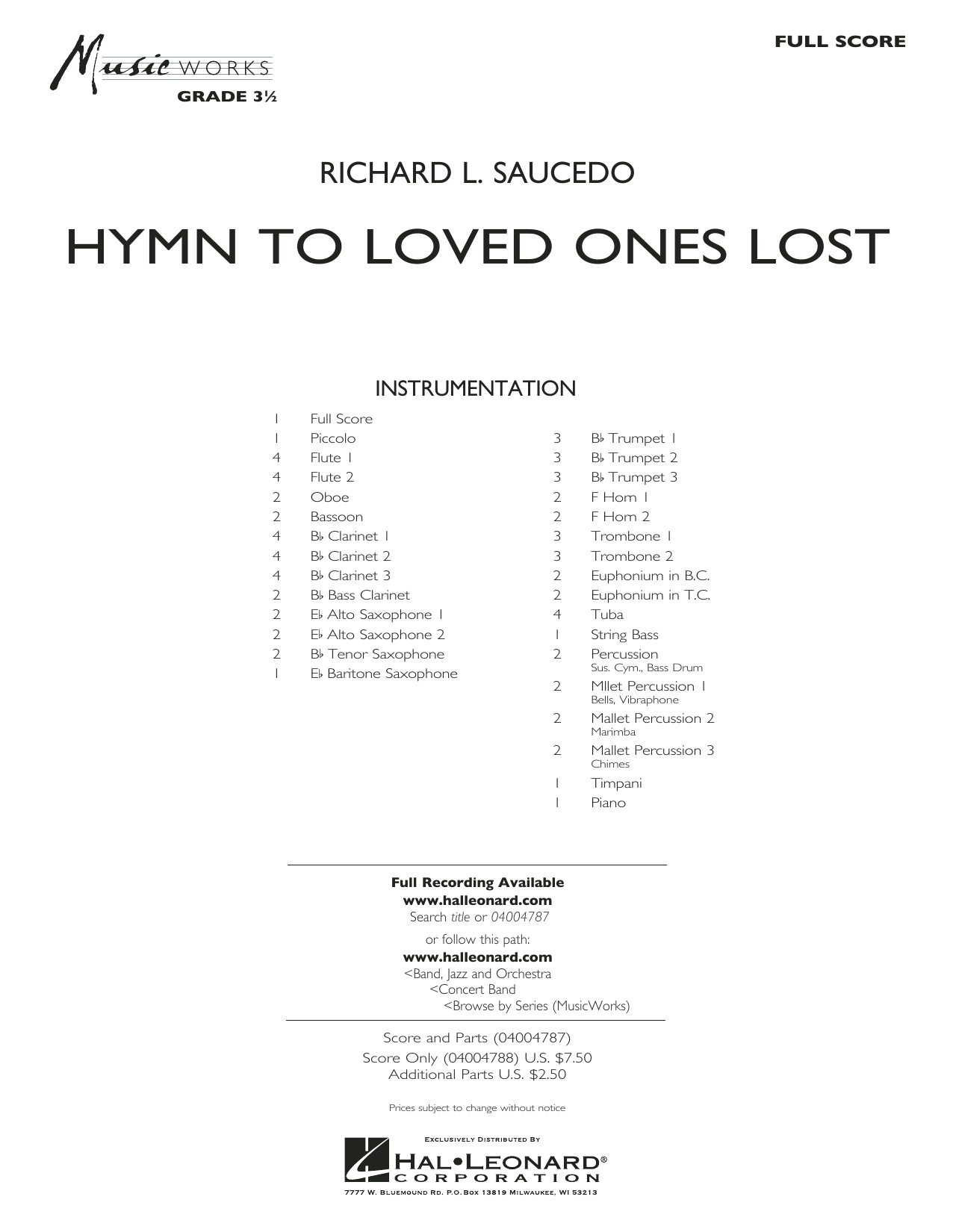Hymn to Loved Ones Lost - Conductor Score (Full Score) (Concert Band)