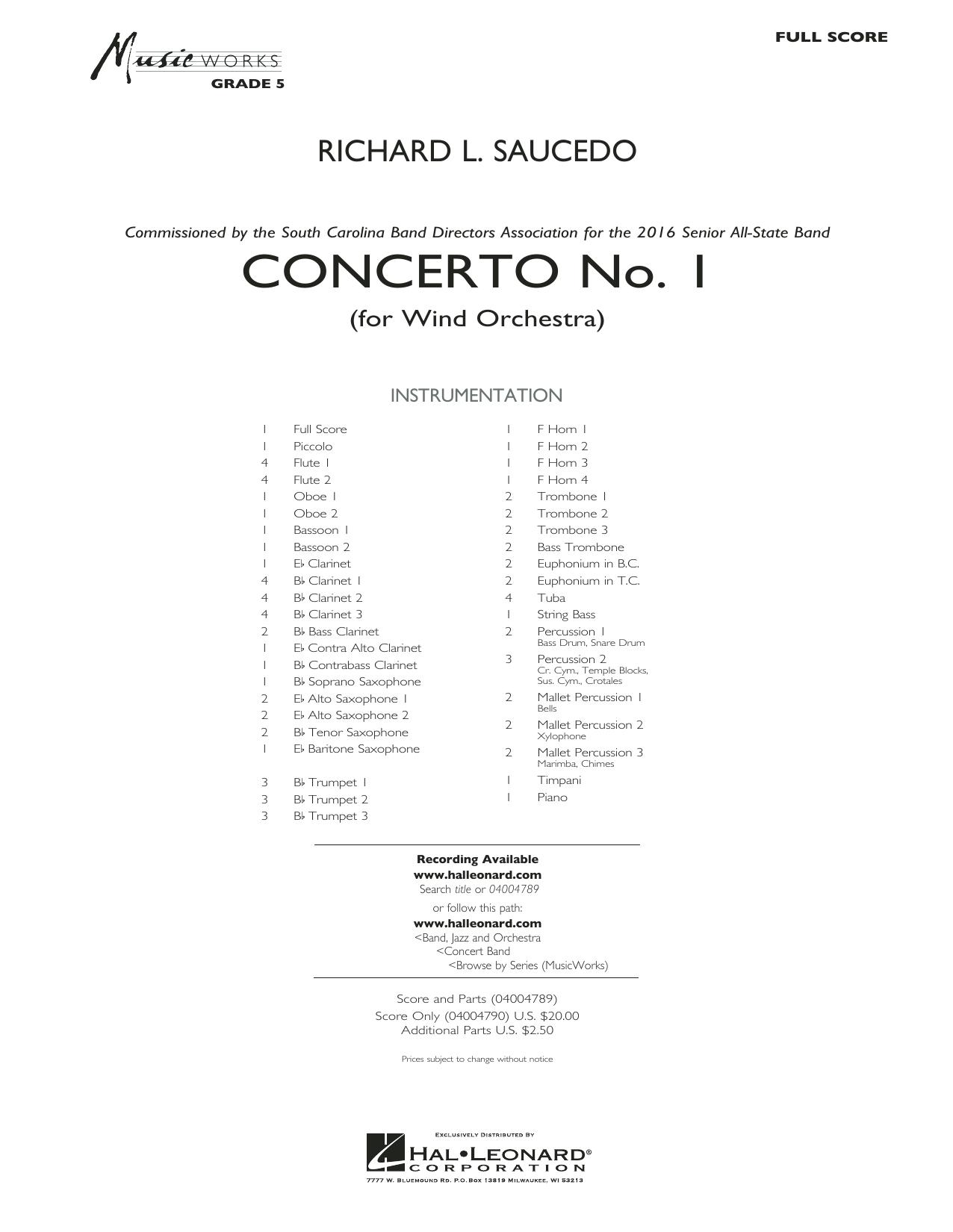 Concerto No. 1 (for Wind Orchestra) - Conductor Score (Full Score) (Concert Band)