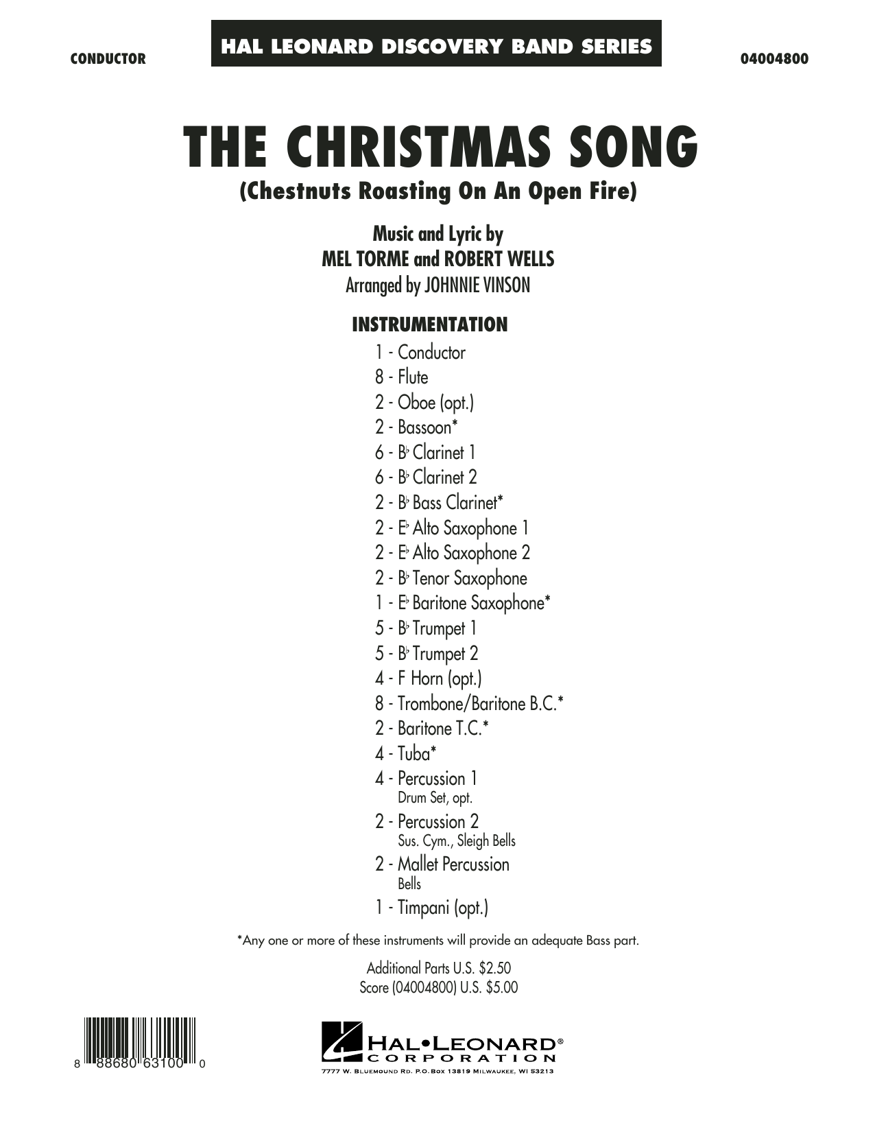 The Christmas Song (Chestnuts Roasting on an Open Fire) - Conductor Score (Full Score) (Concert Band)