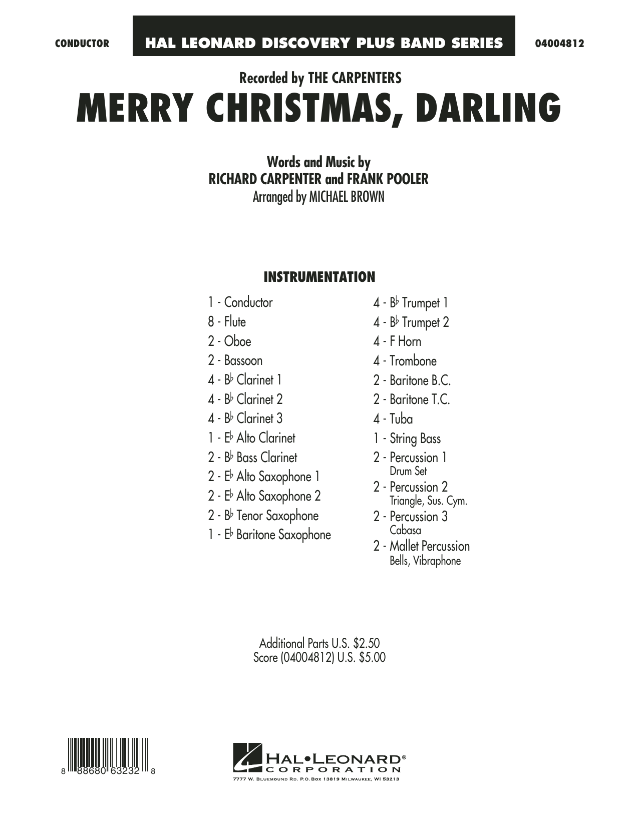 Merry Christmas, Darling (COMPLETE) sheet music for concert band by Carpenters, Frank Pooler, Michael Brown and Richard Carpenter. Score Image Preview.