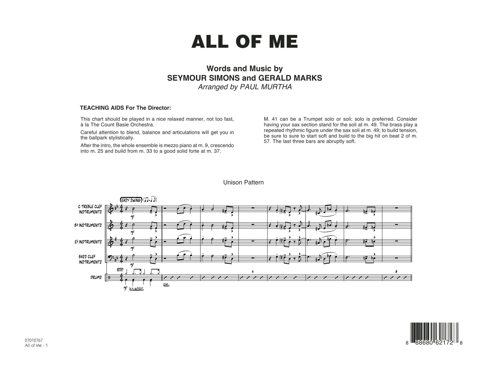 All of Me - Conductor Score (Full Score) (Jazz Ensemble)
