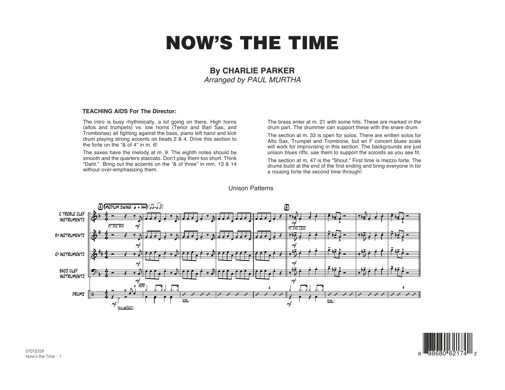 Now's the Time (COMPLETE) sheet music for jazz band by Charlie Parker and Paul Murtha. Score Image Preview.