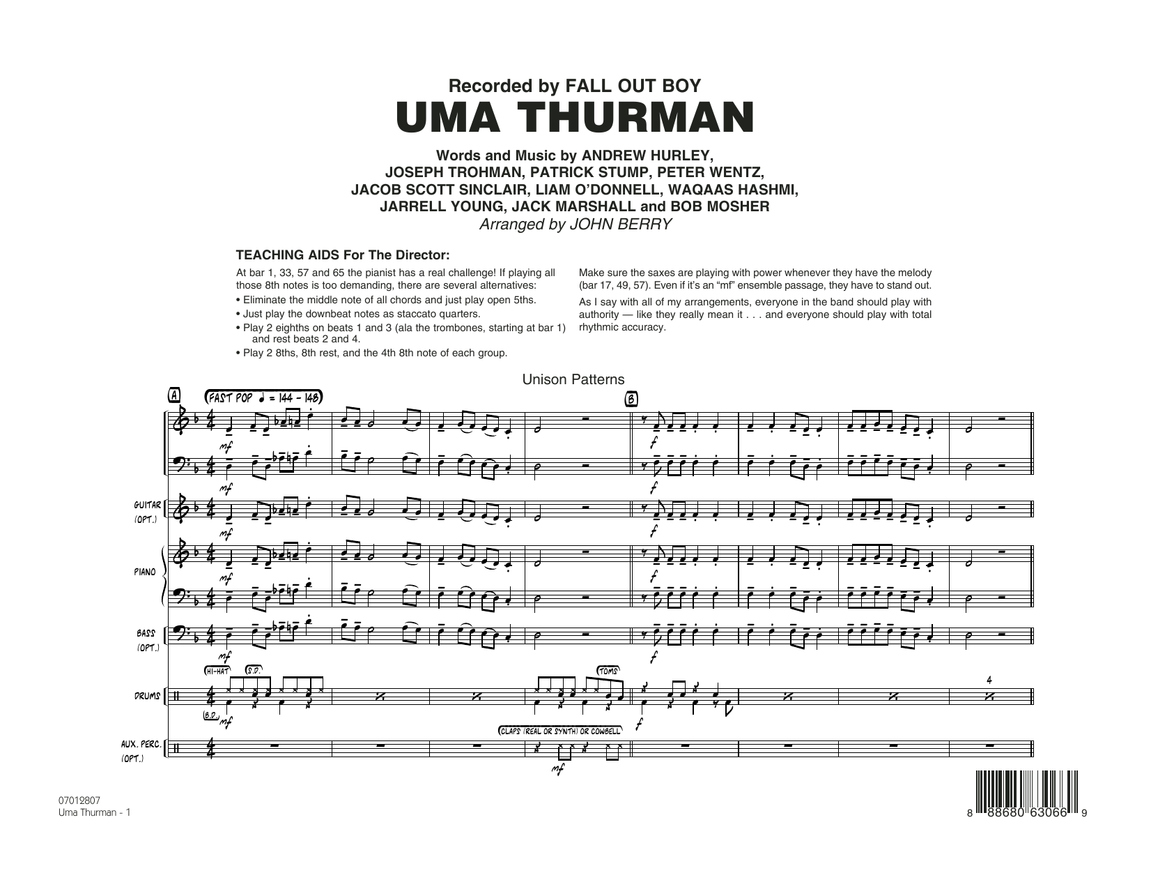Uma Thurman (COMPLETE) sheet music for jazz band by Waqaas Hashmi, Andrew Hurley, Fall Out Boy, Jack Marshall, John Berry and Peter Wentz. Score Image Preview.