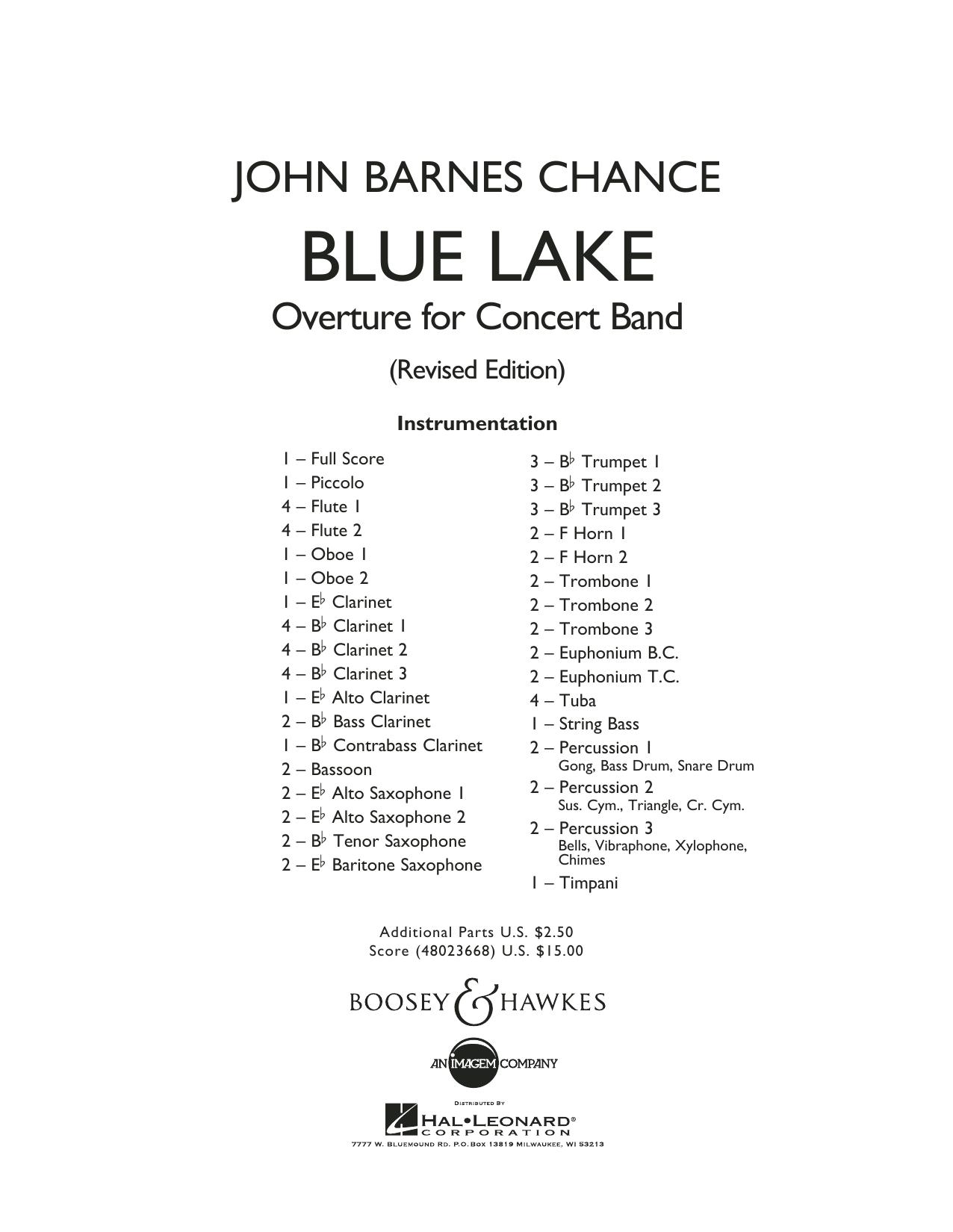 Blue Lake (Overture for Concert Band) - Full Score (Concert Band)
