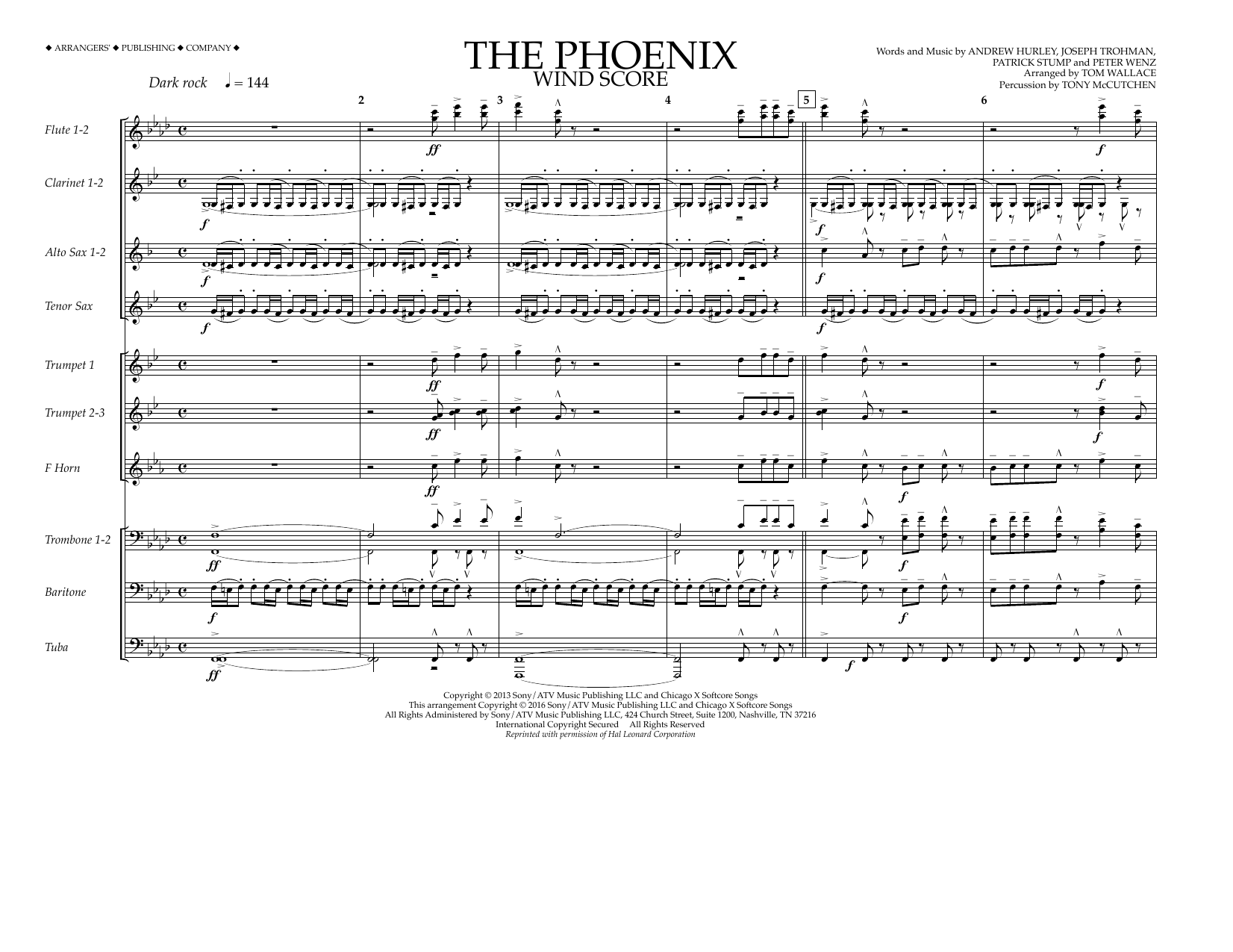 The Phoenix (COMPLETE) sheet music for marching band by Peter Wentz, Andrew Hurley, Fall Out Boy and Tom Wallace. Score Image Preview.