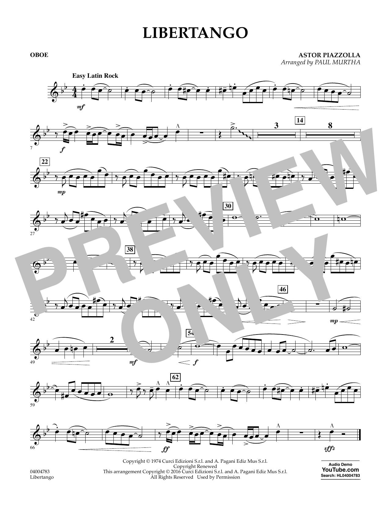 Libertango - Oboe Partition Digitale