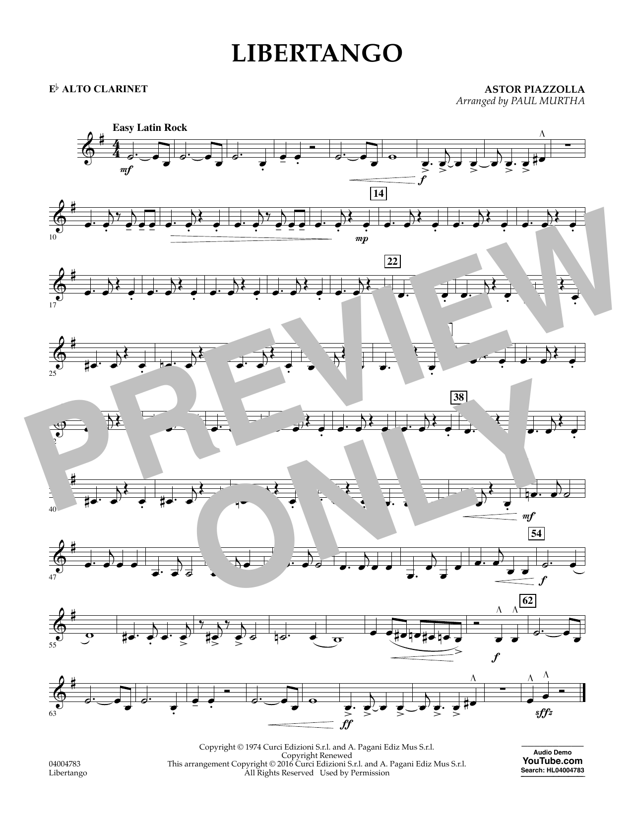 Libertango - Eb Alto Clarinet (Concert Band)