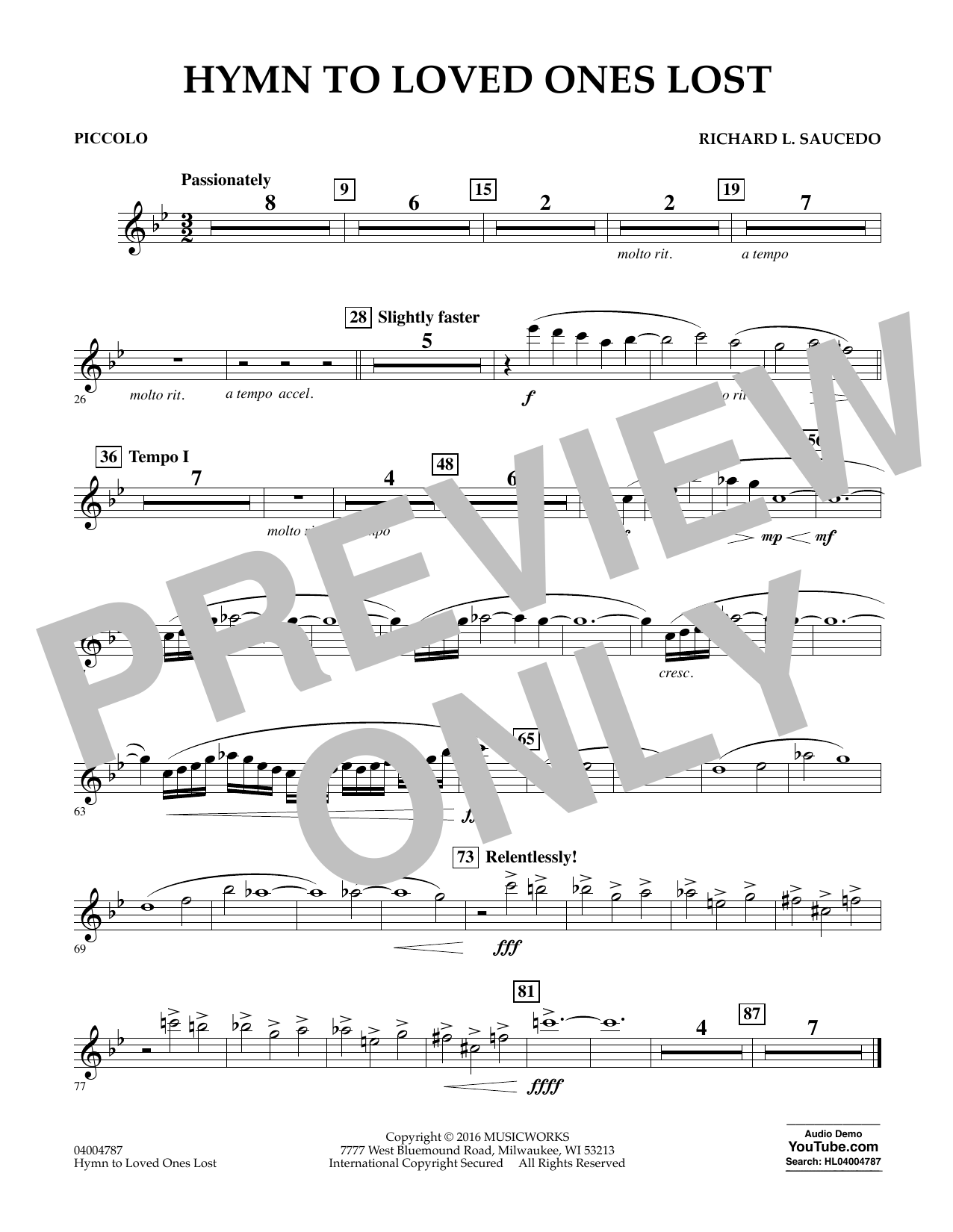 Hymn to Loved Ones Lost - Piccolo (Concert Band)