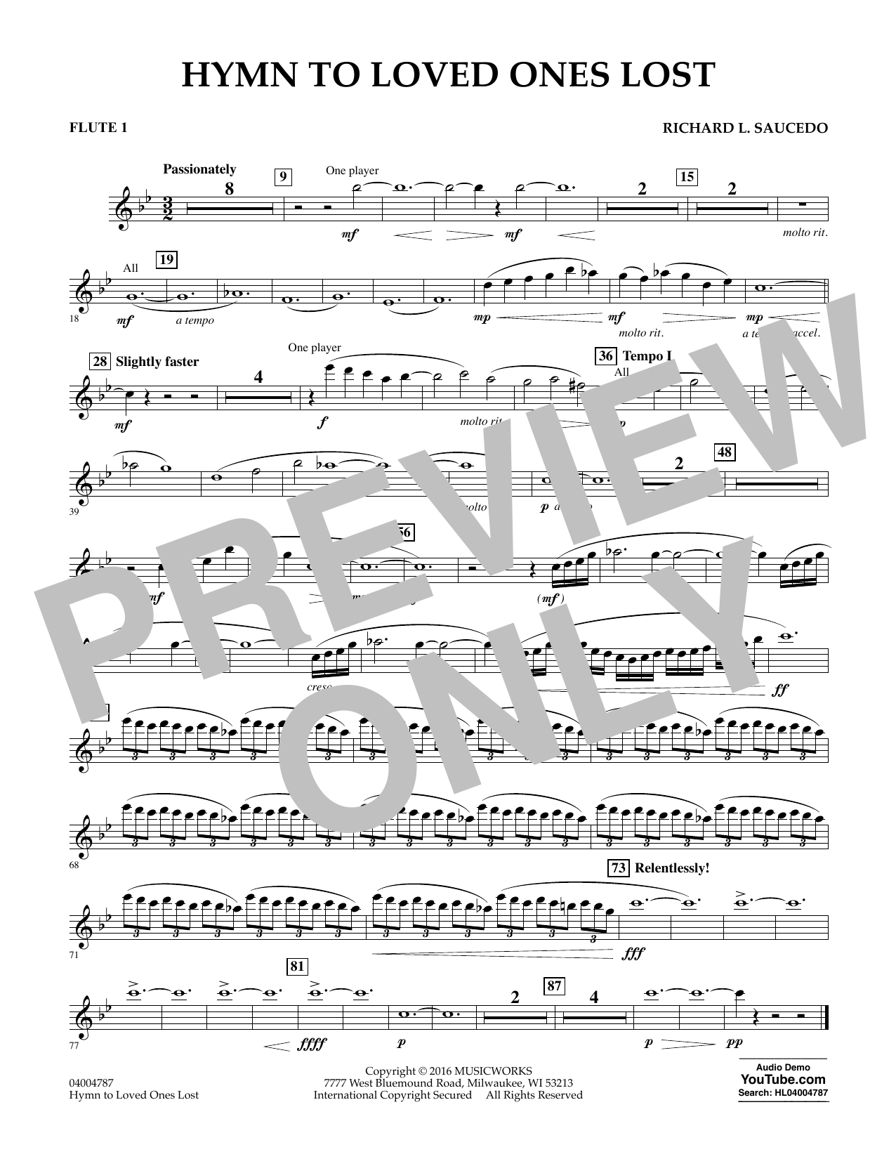 Hymn to Loved Ones Lost - Flute 1 (Concert Band)
