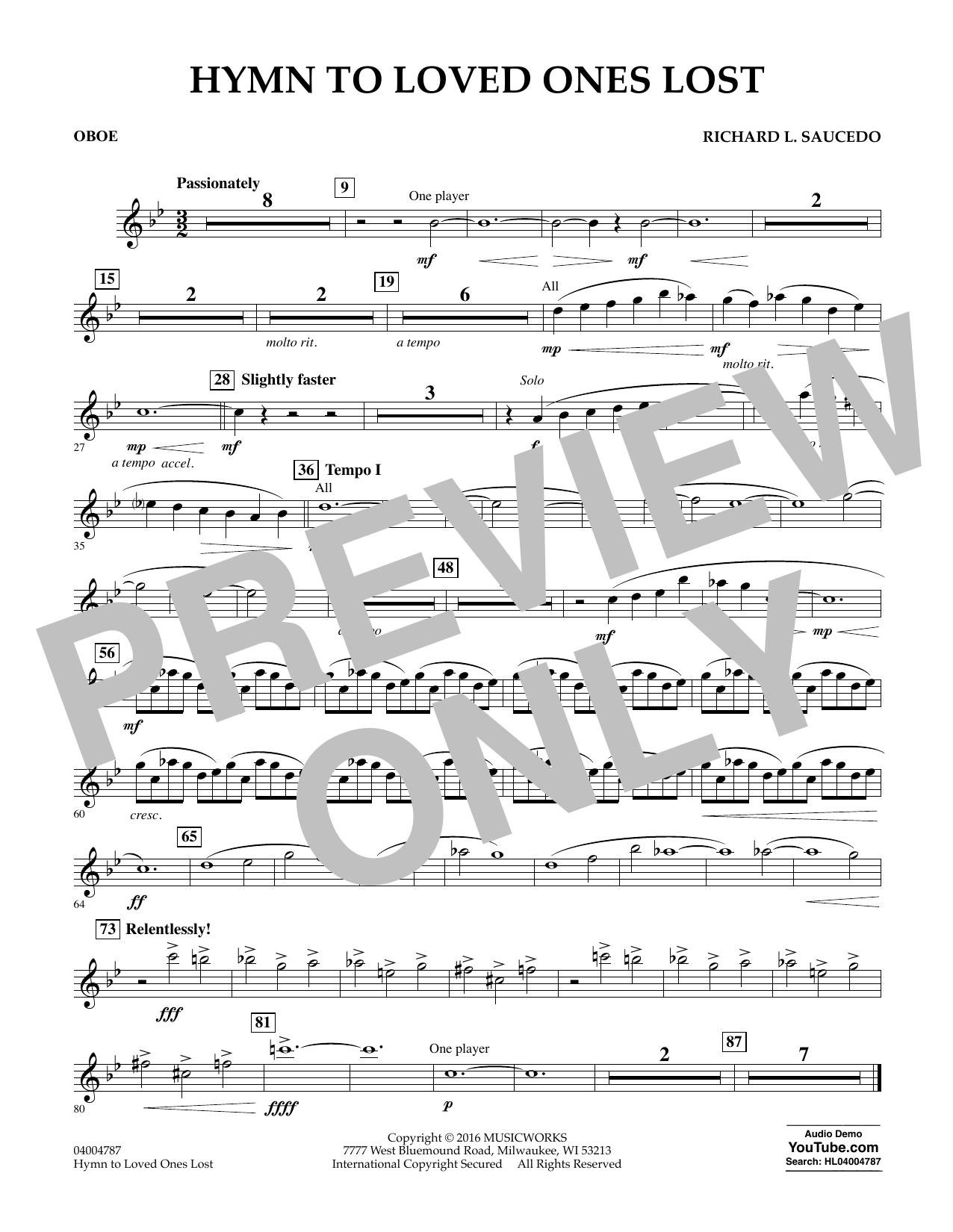 Hymn to Loved Ones Lost - Oboe (Concert Band)