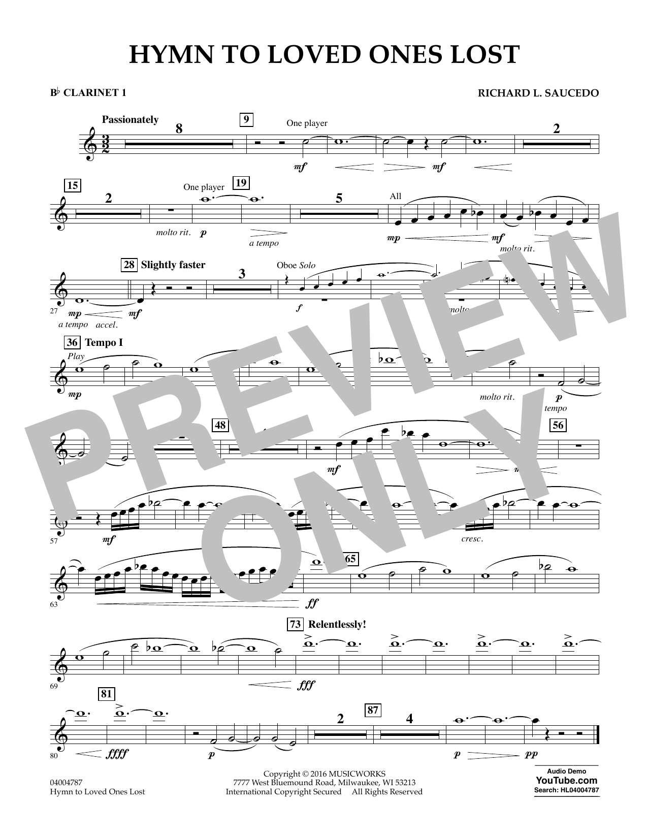 Hymn to Loved Ones Lost - Bb Clarinet 1 (Concert Band)