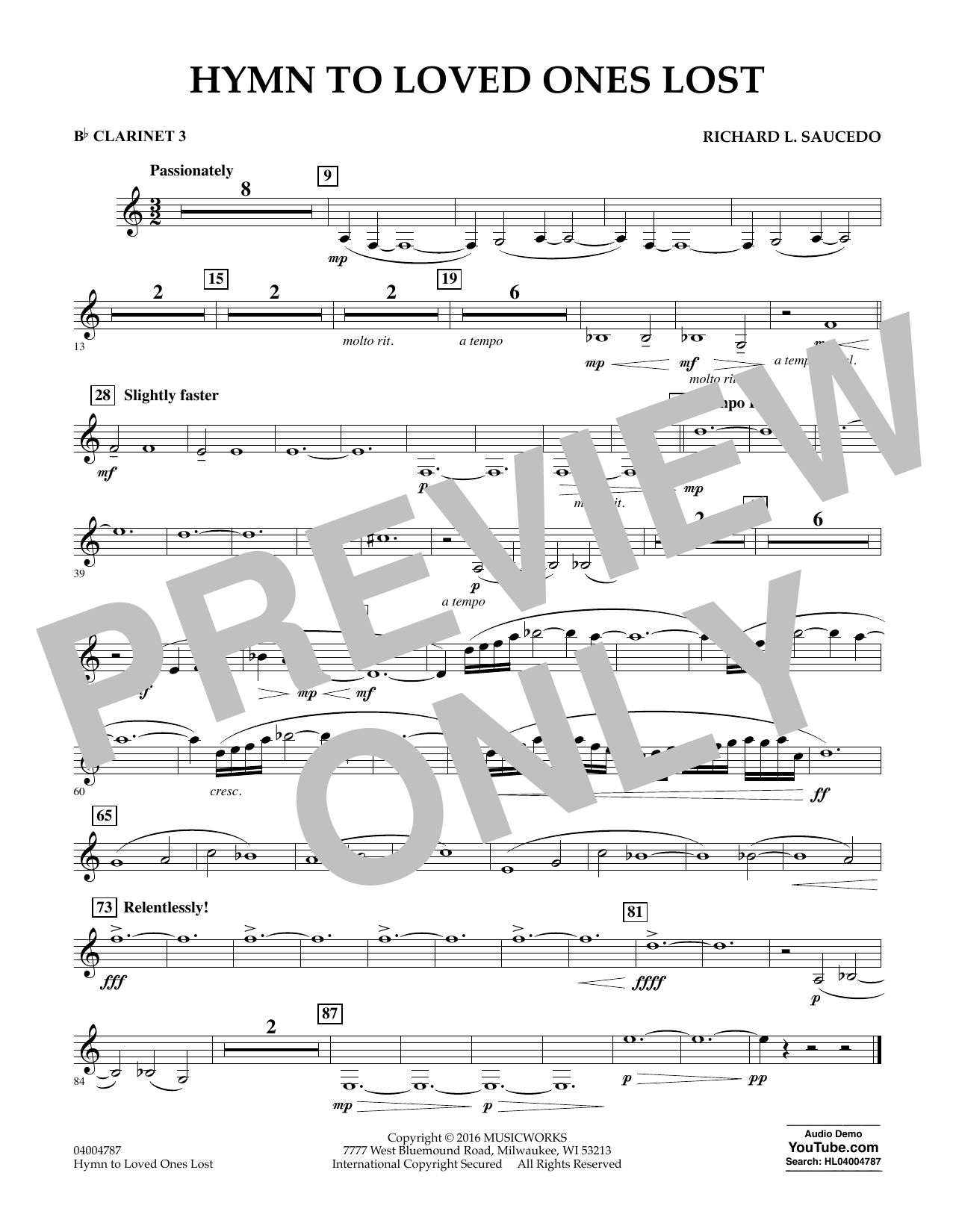 Hymn to Loved Ones Lost - Bb Clarinet 3 (Concert Band)