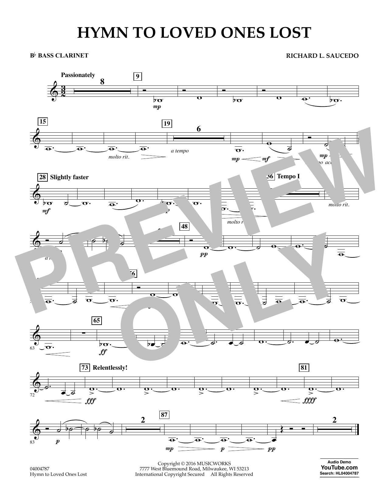 Hymn to Loved Ones Lost - Bb Bass Clarinet (Concert Band)