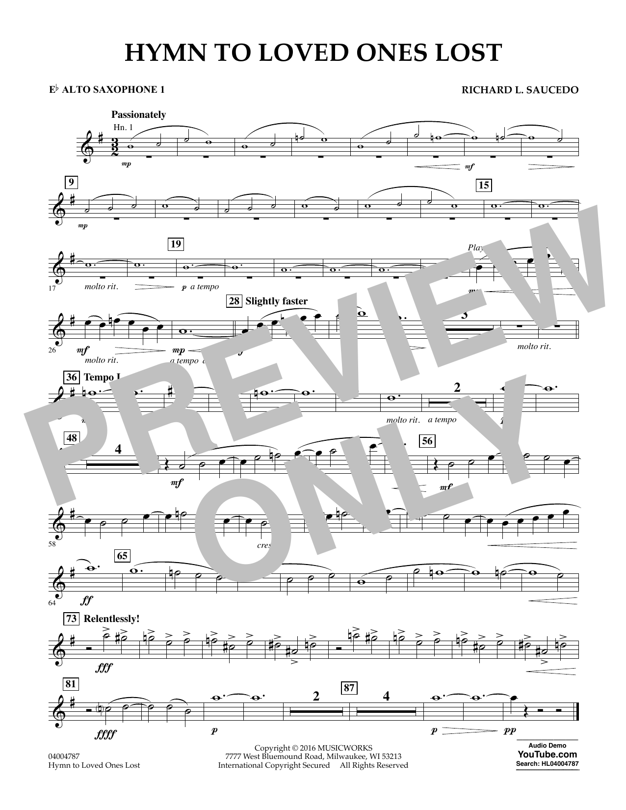 Hymn to Loved Ones Lost - Eb Alto Saxophone 1 (Concert Band)