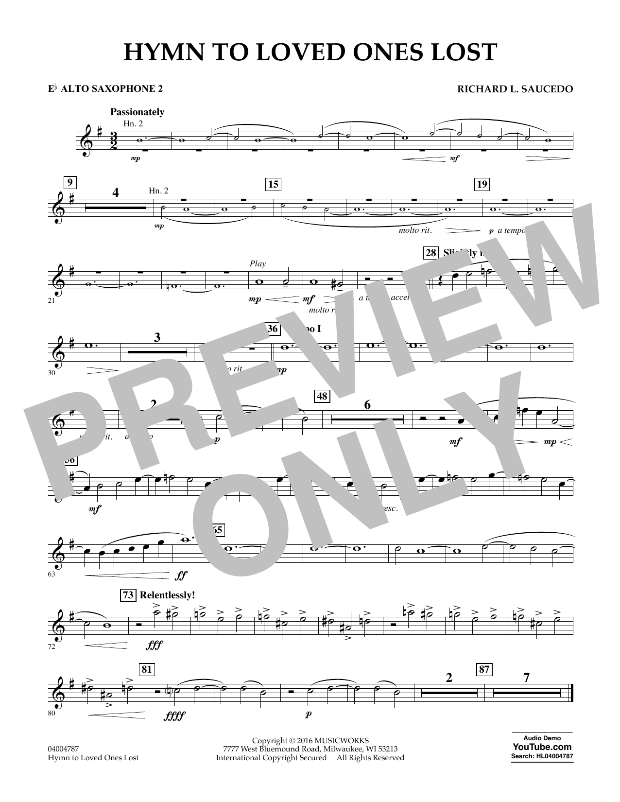 Hymn to Loved Ones Lost - Eb Alto Saxophone 2 (Concert Band)