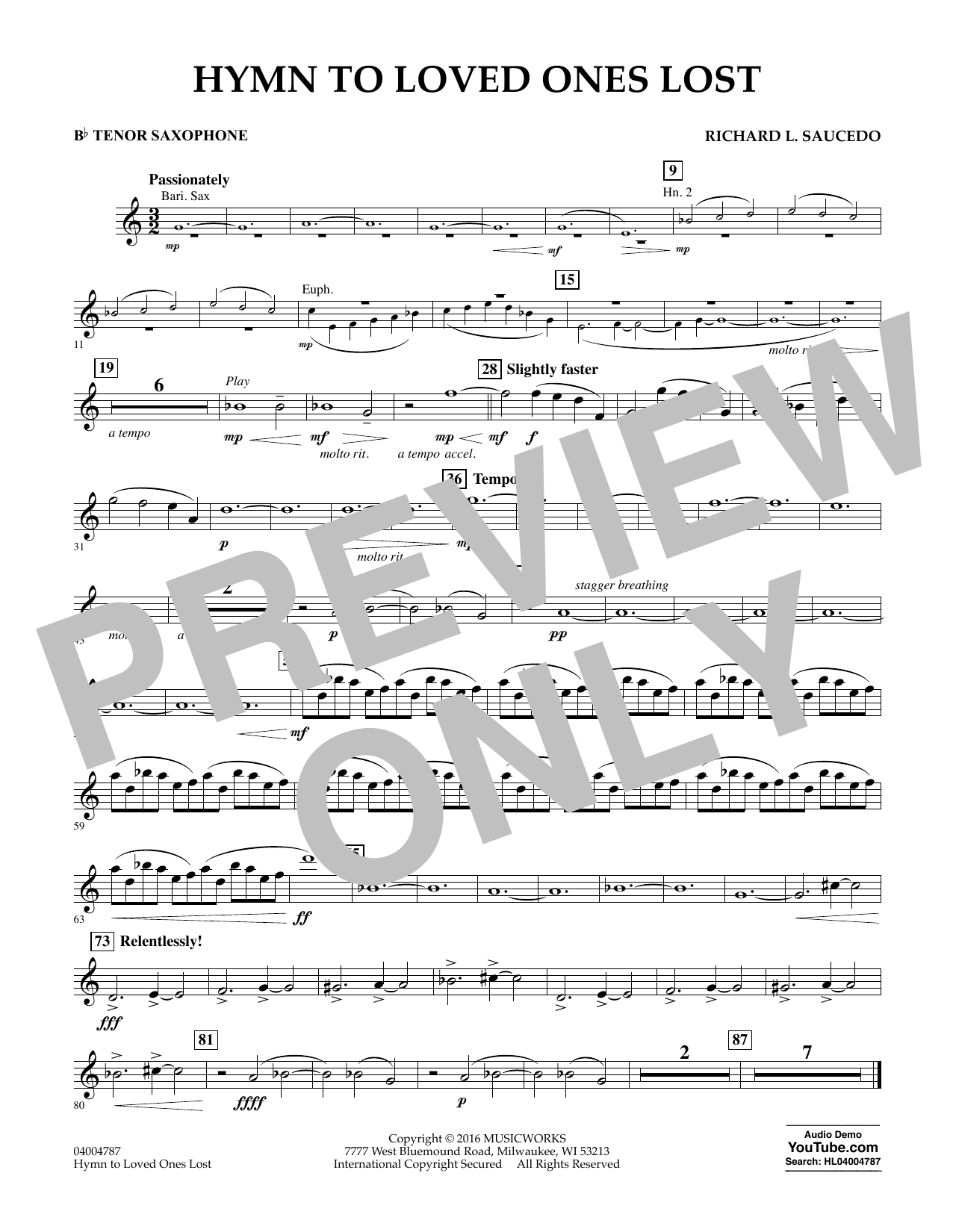 Hymn to Loved Ones Lost - Bb Tenor Saxophone (Concert Band)