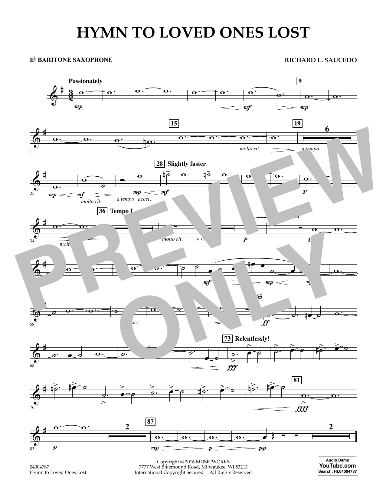 Hymn to Loved Ones Lost - Eb Baritone Saxophone (Concert Band)