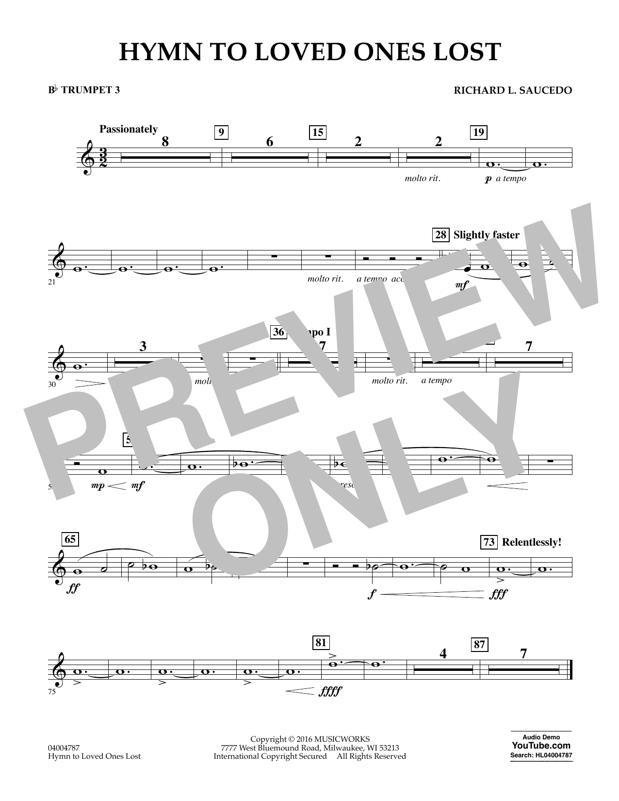 Hymn to Loved Ones Lost - Bb Trumpet 3 (Concert Band)