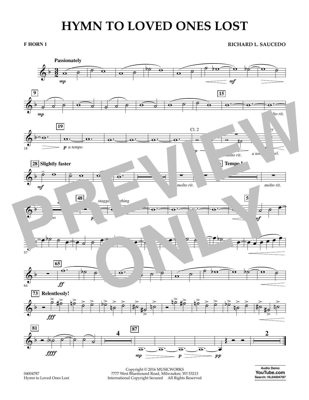 Hymn to Loved Ones Lost - F Horn 1 (Concert Band)