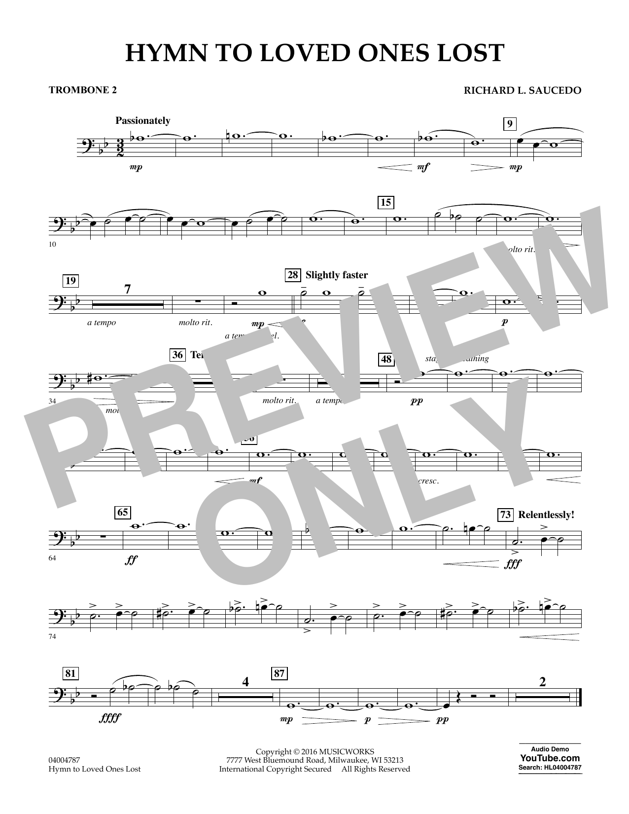 Hymn to Loved Ones Lost - Trombone 2 (Concert Band)