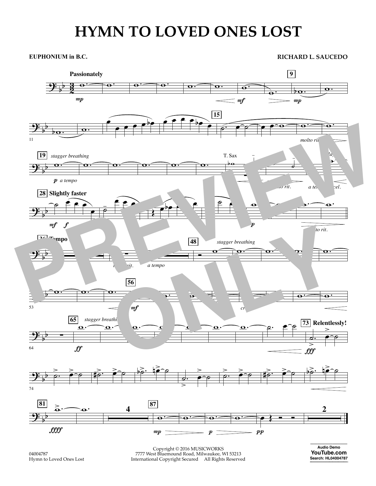 Hymn to Loved Ones Lost - Euphonium in Bass Clef (Concert Band)