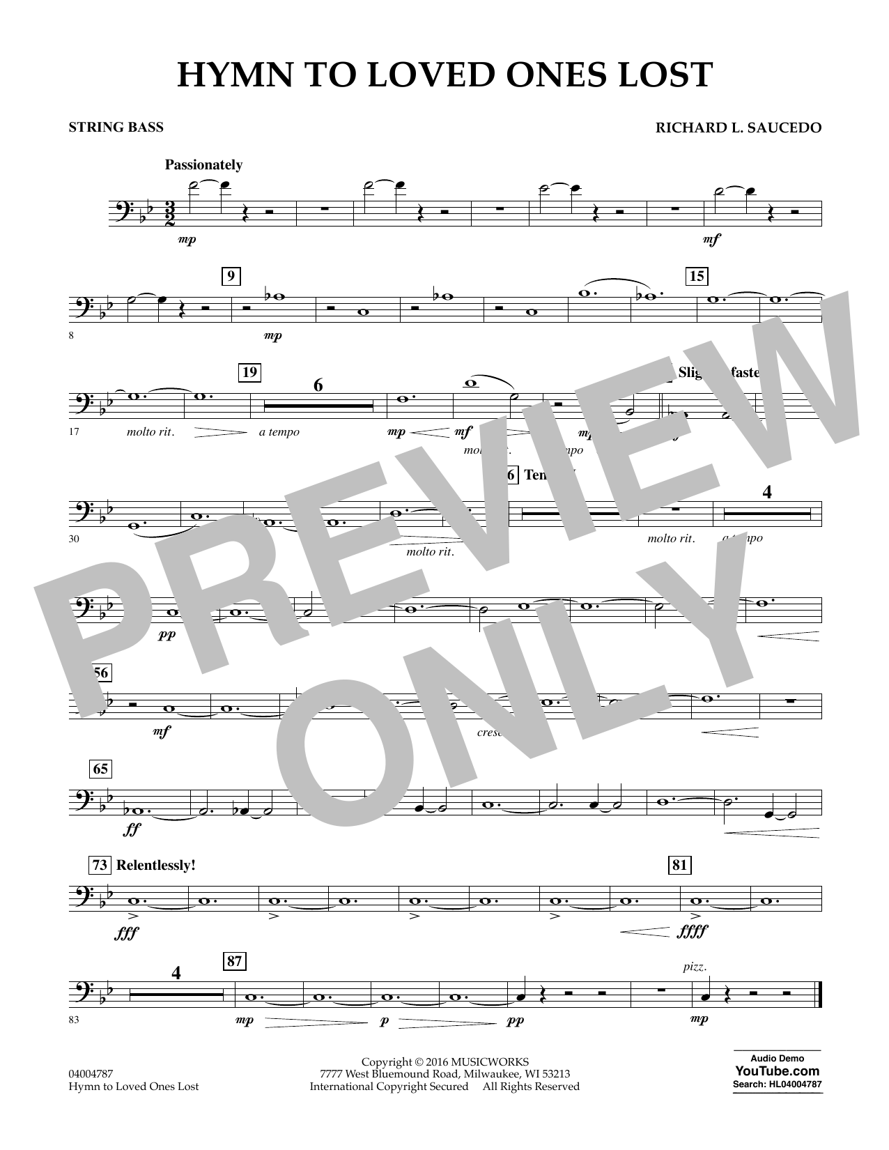 Hymn to Loved Ones Lost - String Bass (Concert Band)