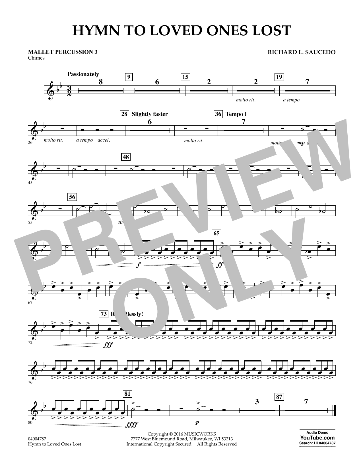 Hymn to Loved Ones Lost - Mallet Percussion 3 (Concert Band)