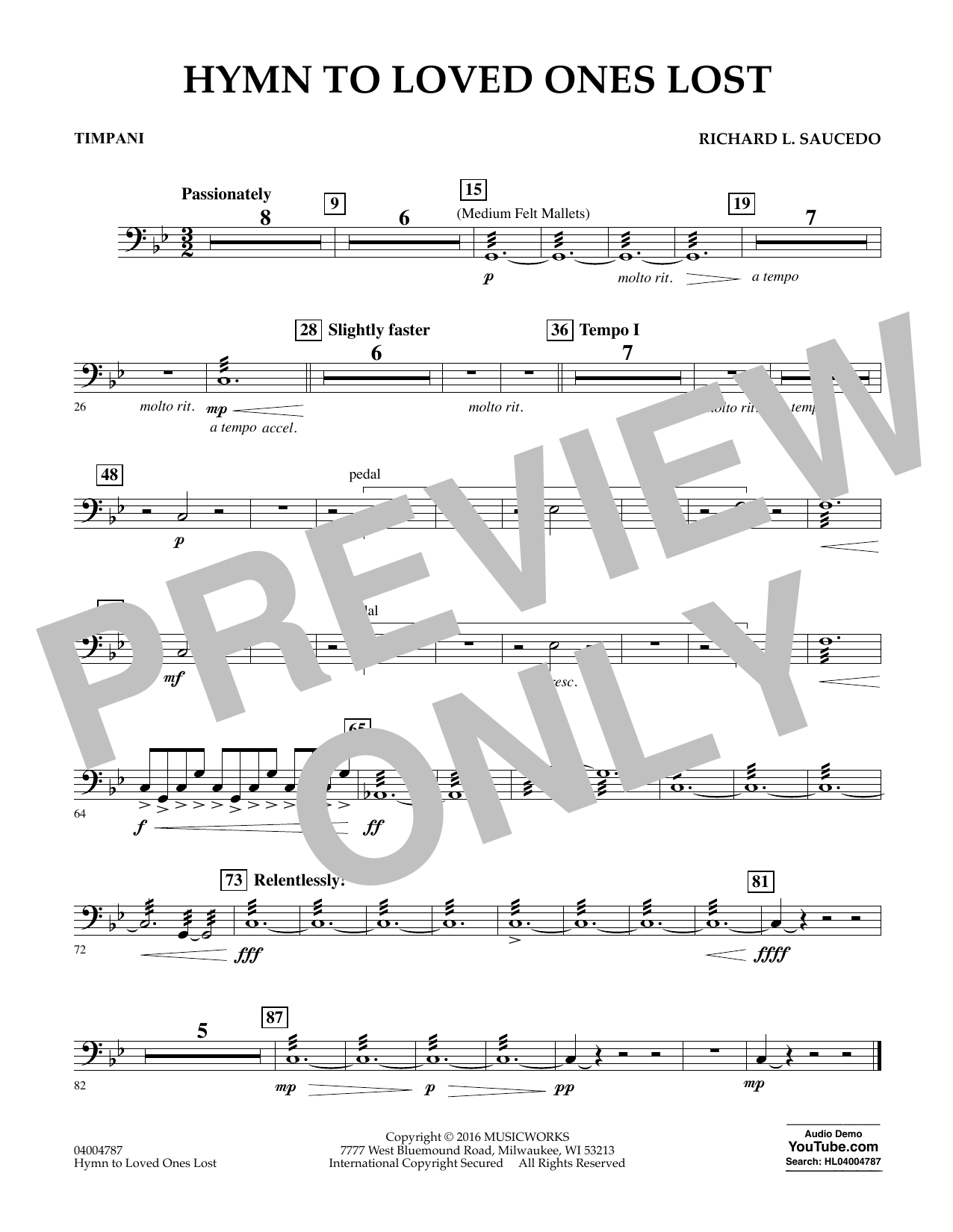 Hymn to Loved Ones Lost - Timpani (Concert Band)
