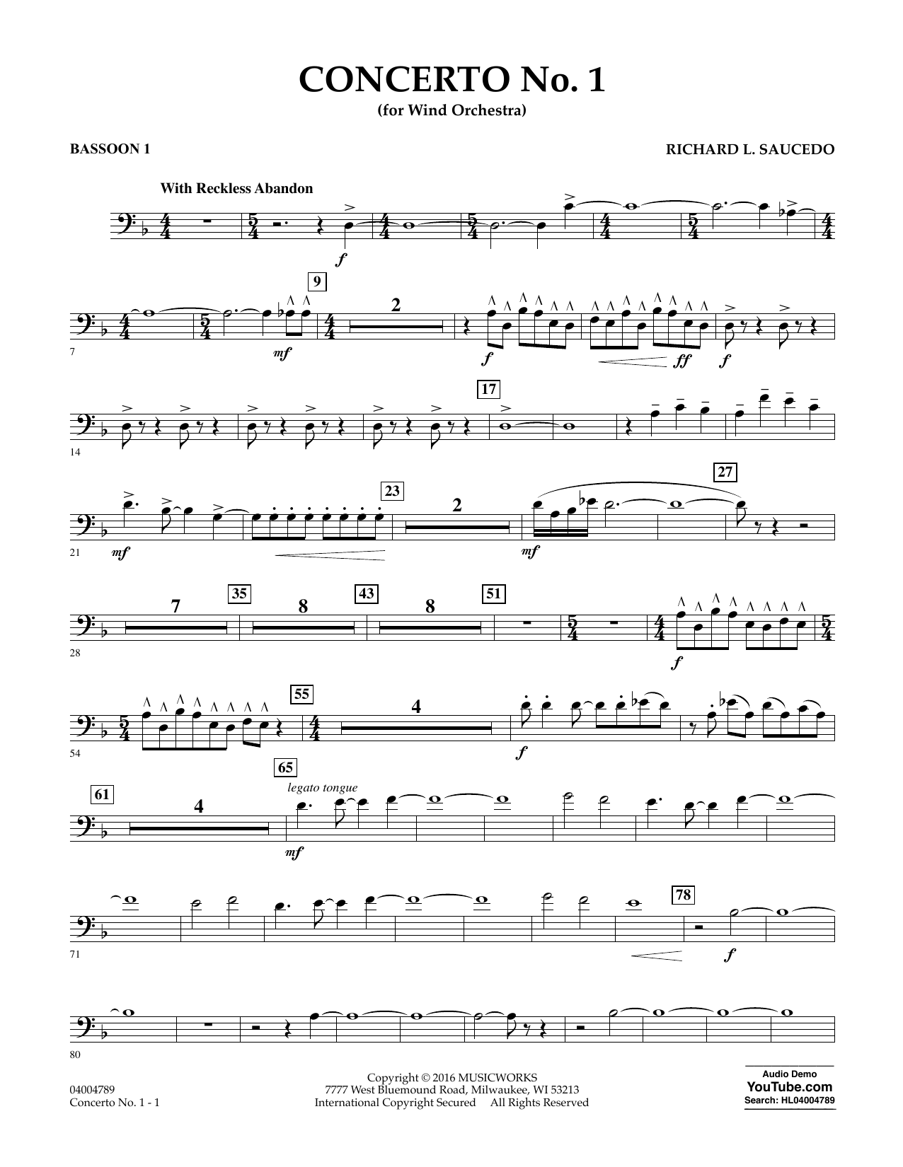 Concerto No. 1 (for Wind Orchestra) - Bassoon 1 (Concert Band)