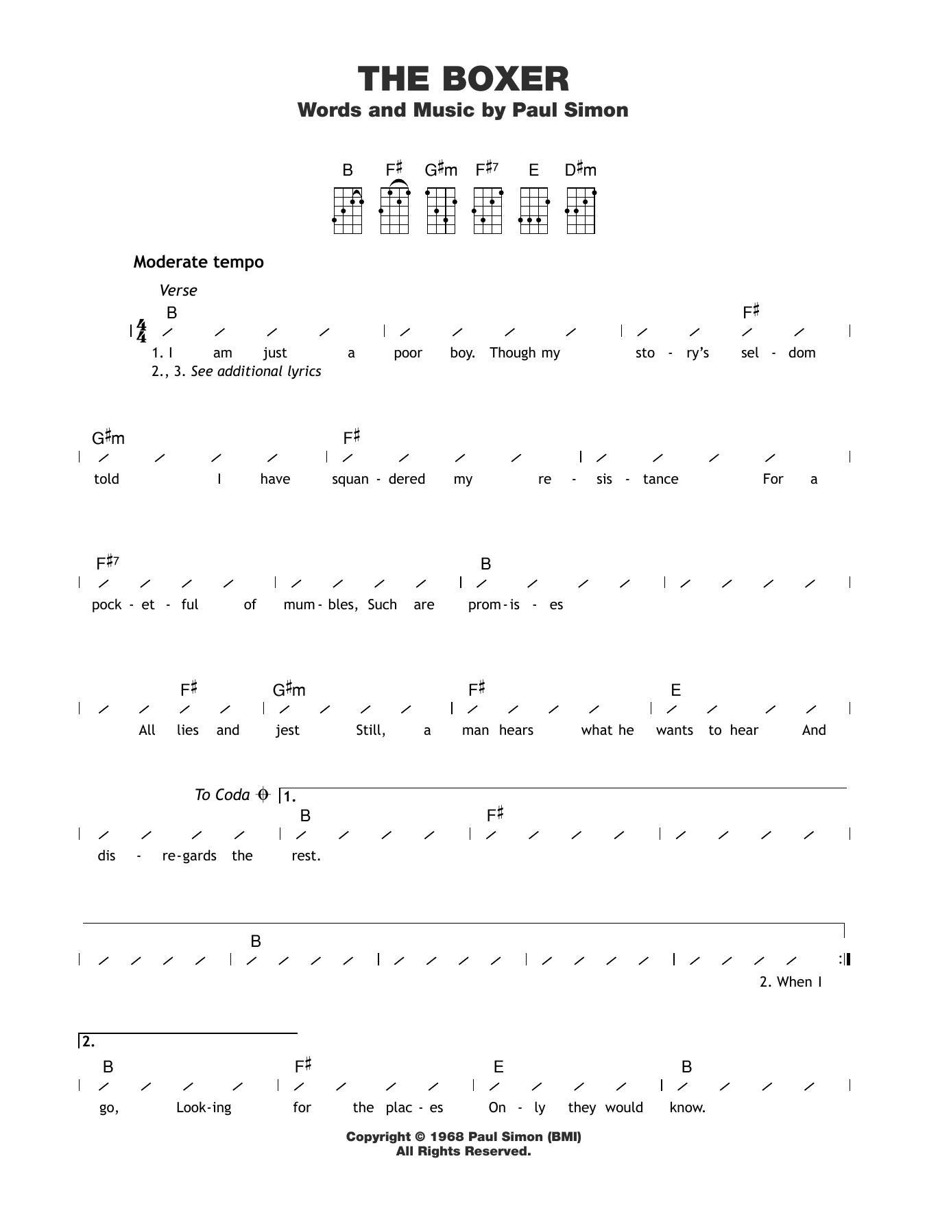 The Boxer Sheet Music
