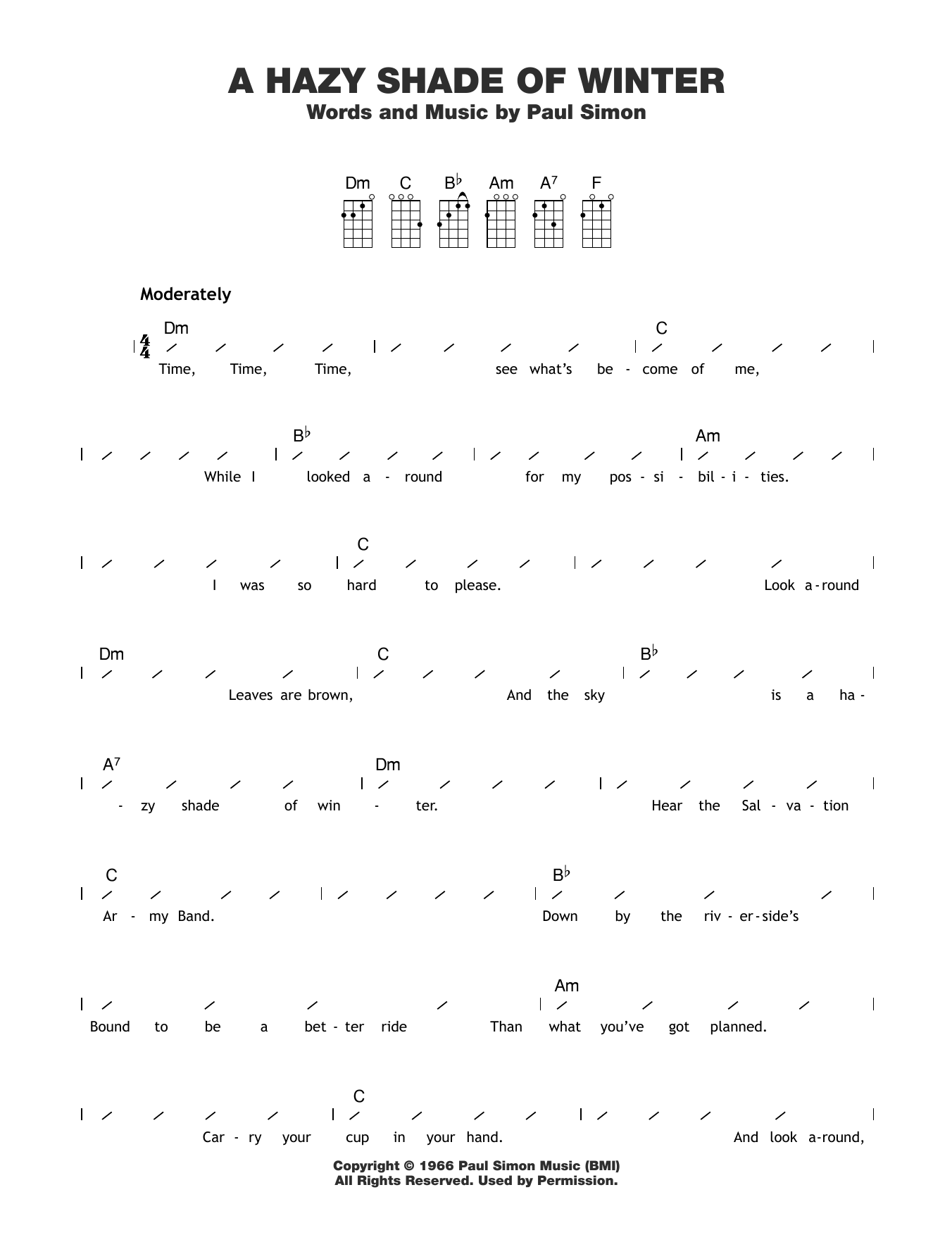 A Hazy Shade Of Winter Sheet Music To Download