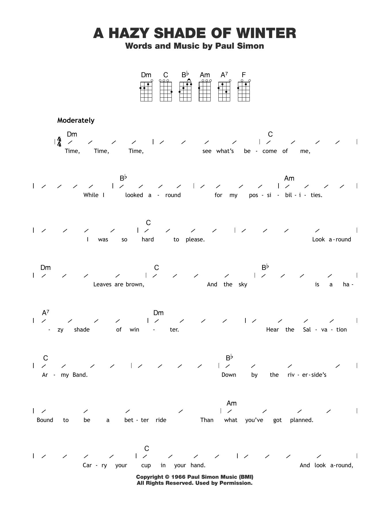 A Hazy Shade Of Winter Sheet Music