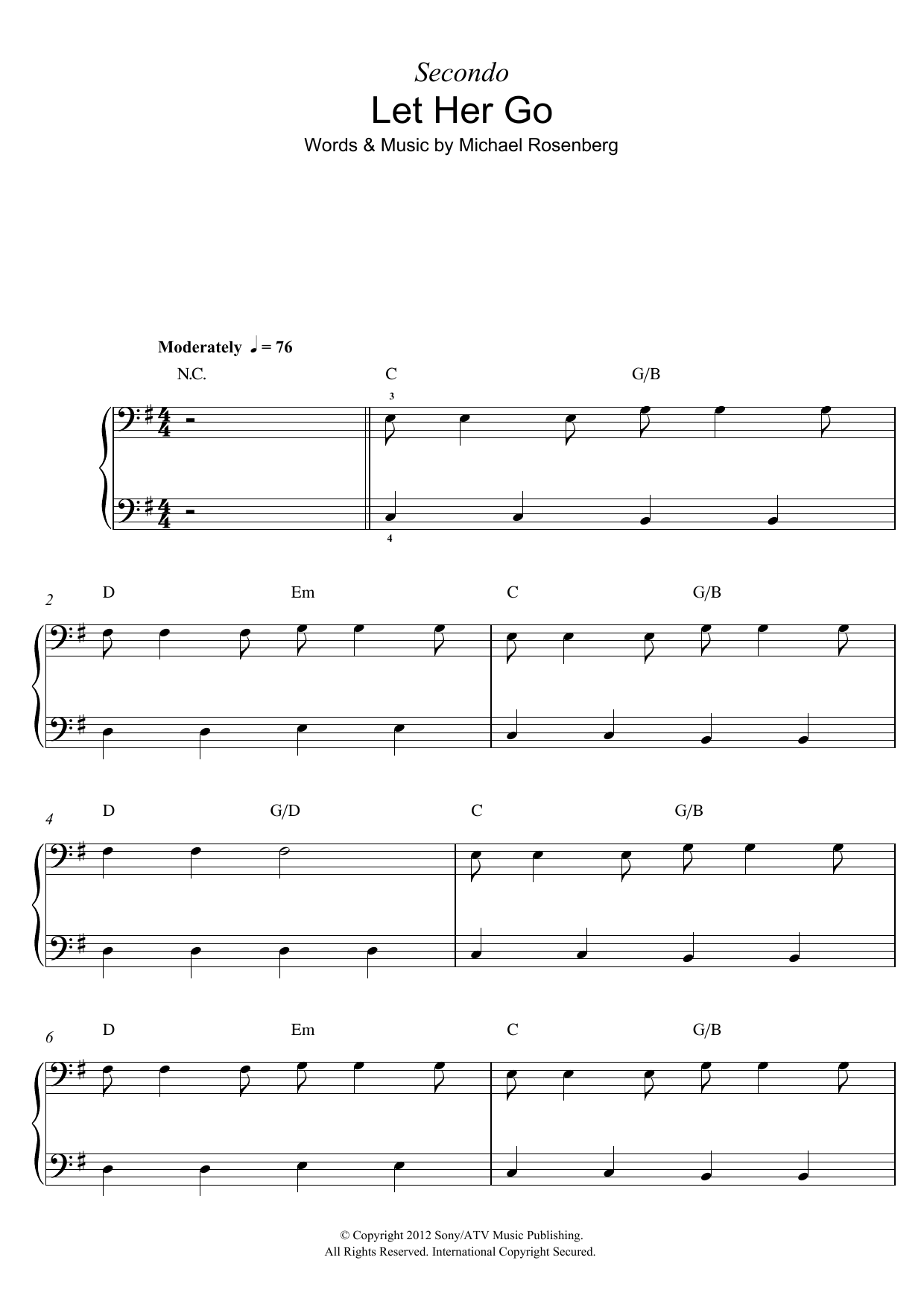 Let Her Go Sheet Music Passenger Piano Duet