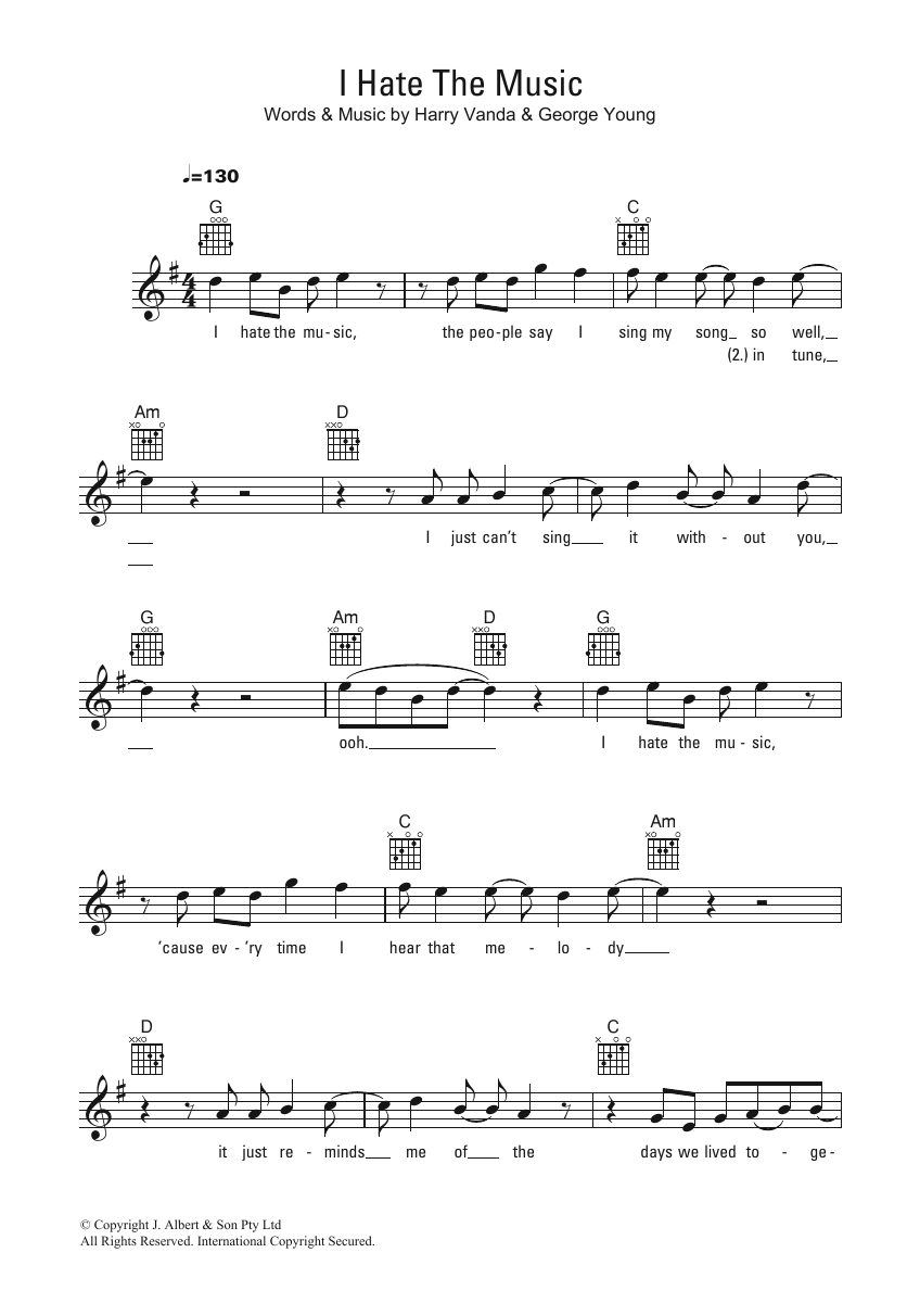 I Hate The Music Sheet Music