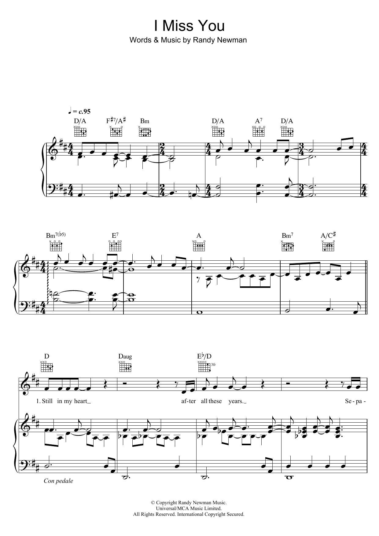 I Miss You Sheet Music