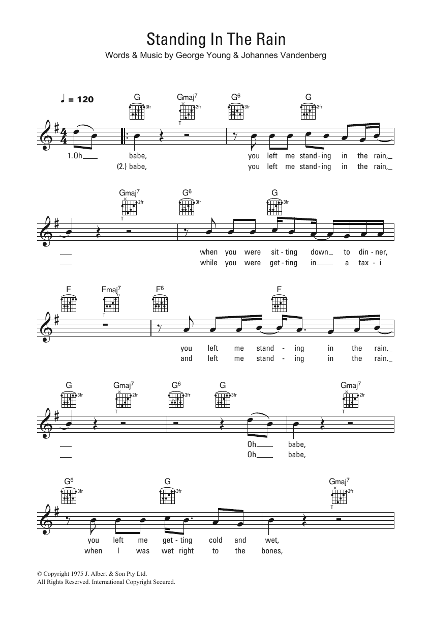 Standing In The Rain Sheet Music