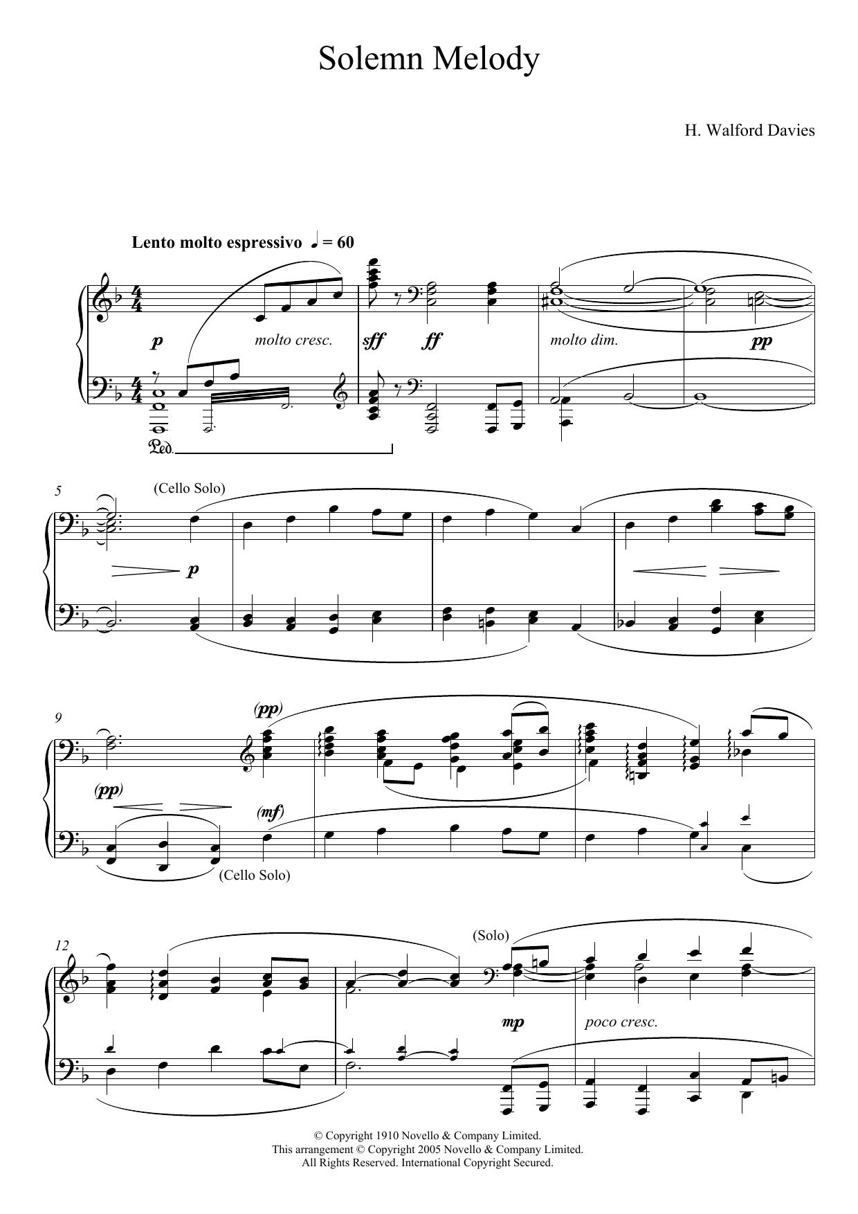 Solemn Melody Sheet Music