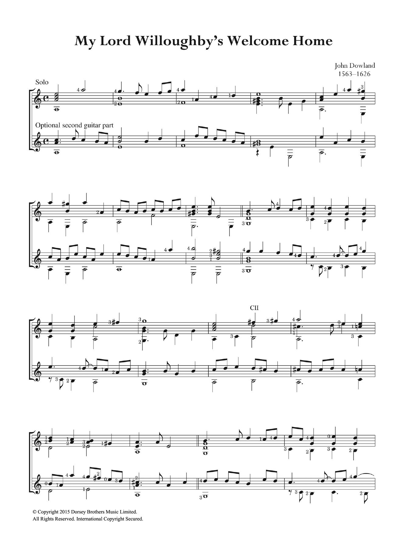 My Lord Willoughby's Welcome Home Sheet Music