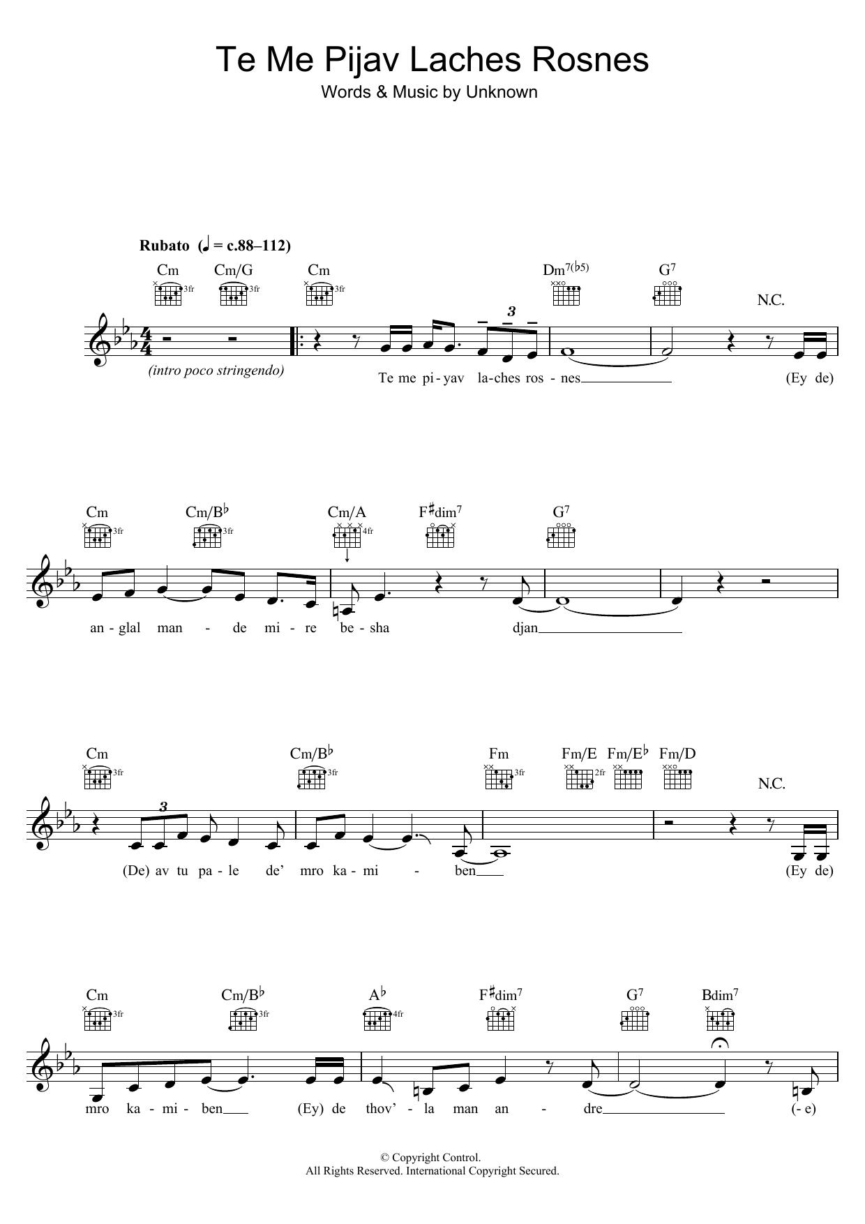 Te Me Pijav Lachness Rosnes Sheet Music